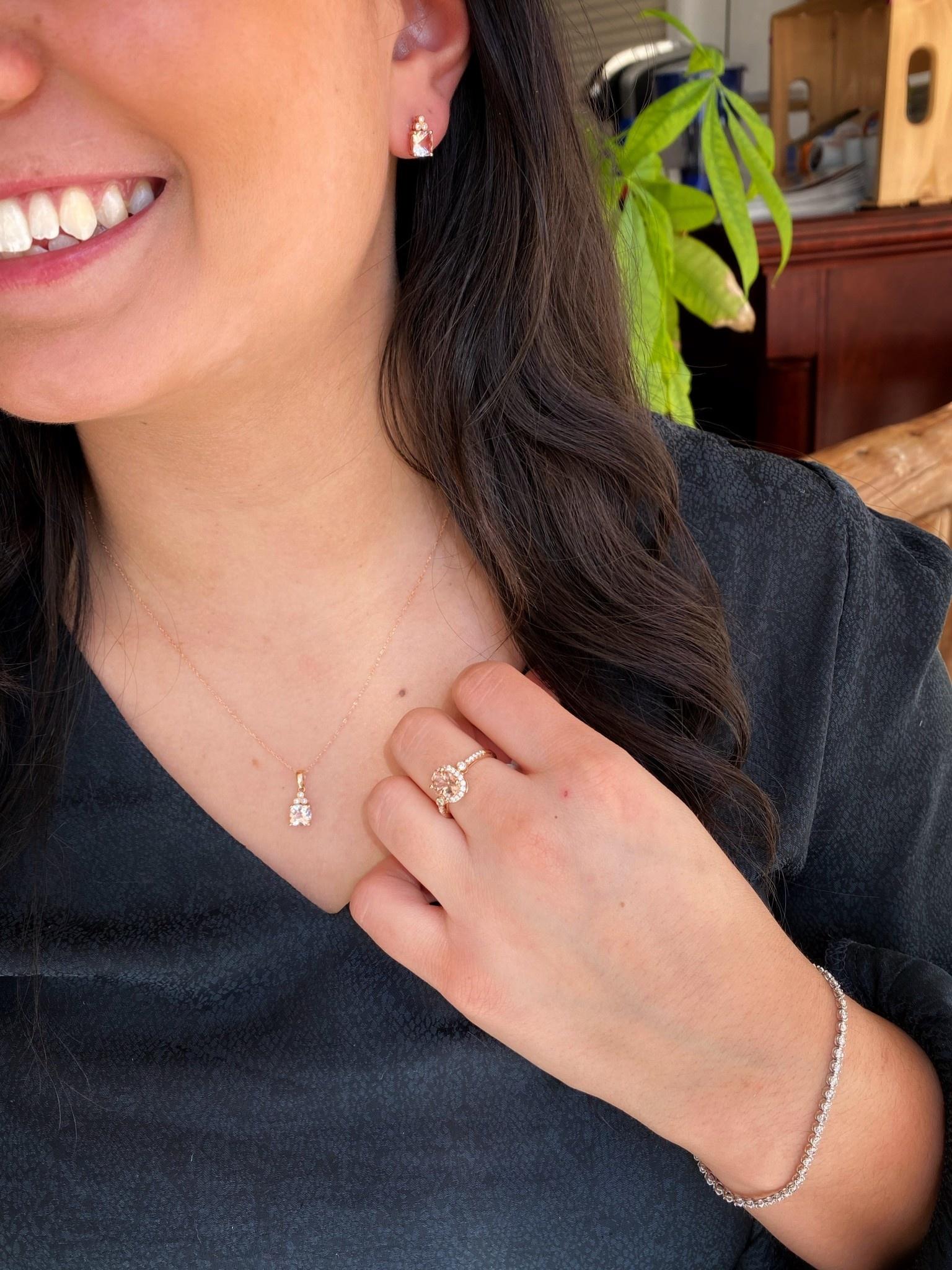 Cushion Morganite Diamond  Stud Earrings