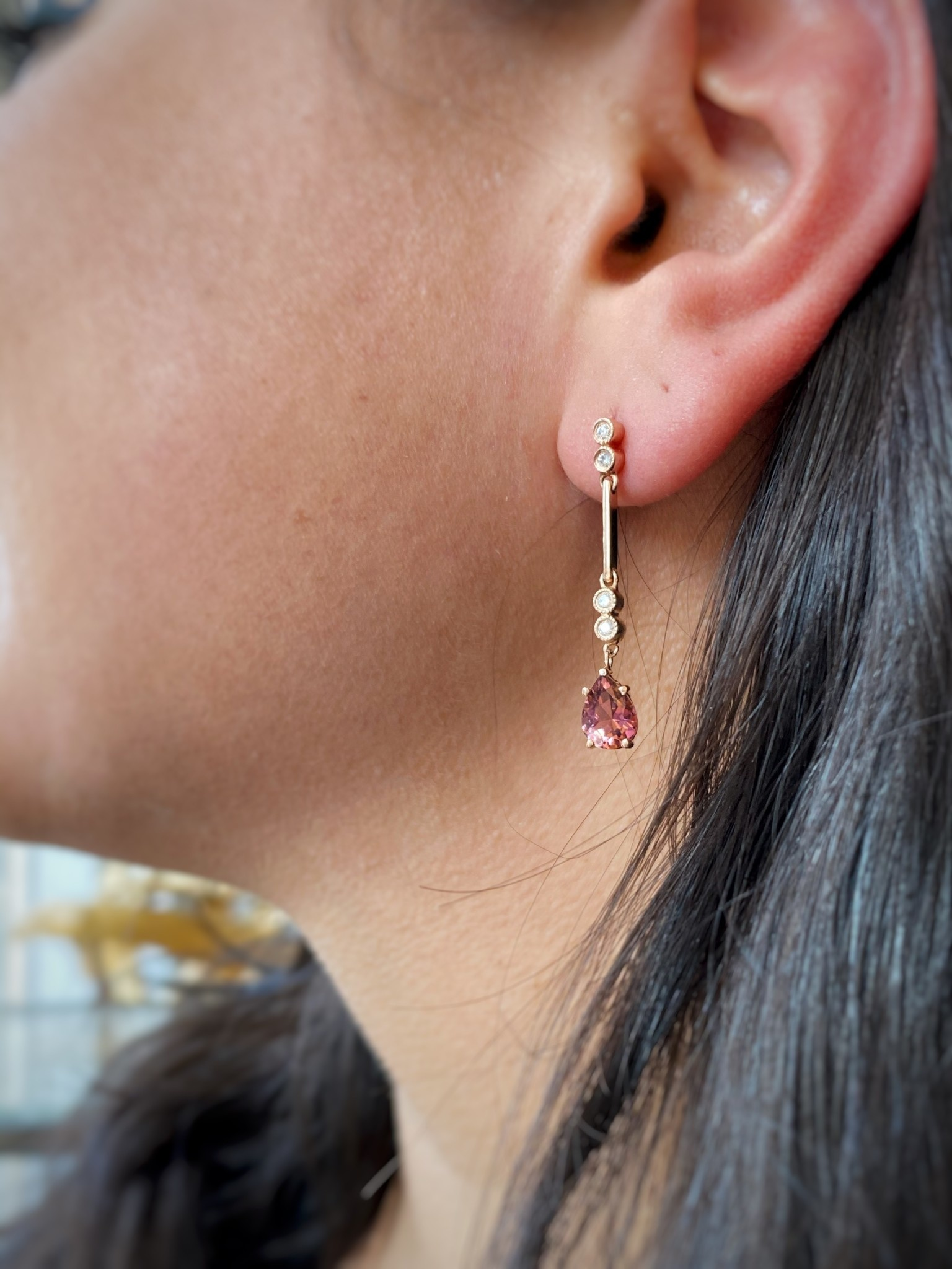 Pear Tourmaline and Diamond Earrings