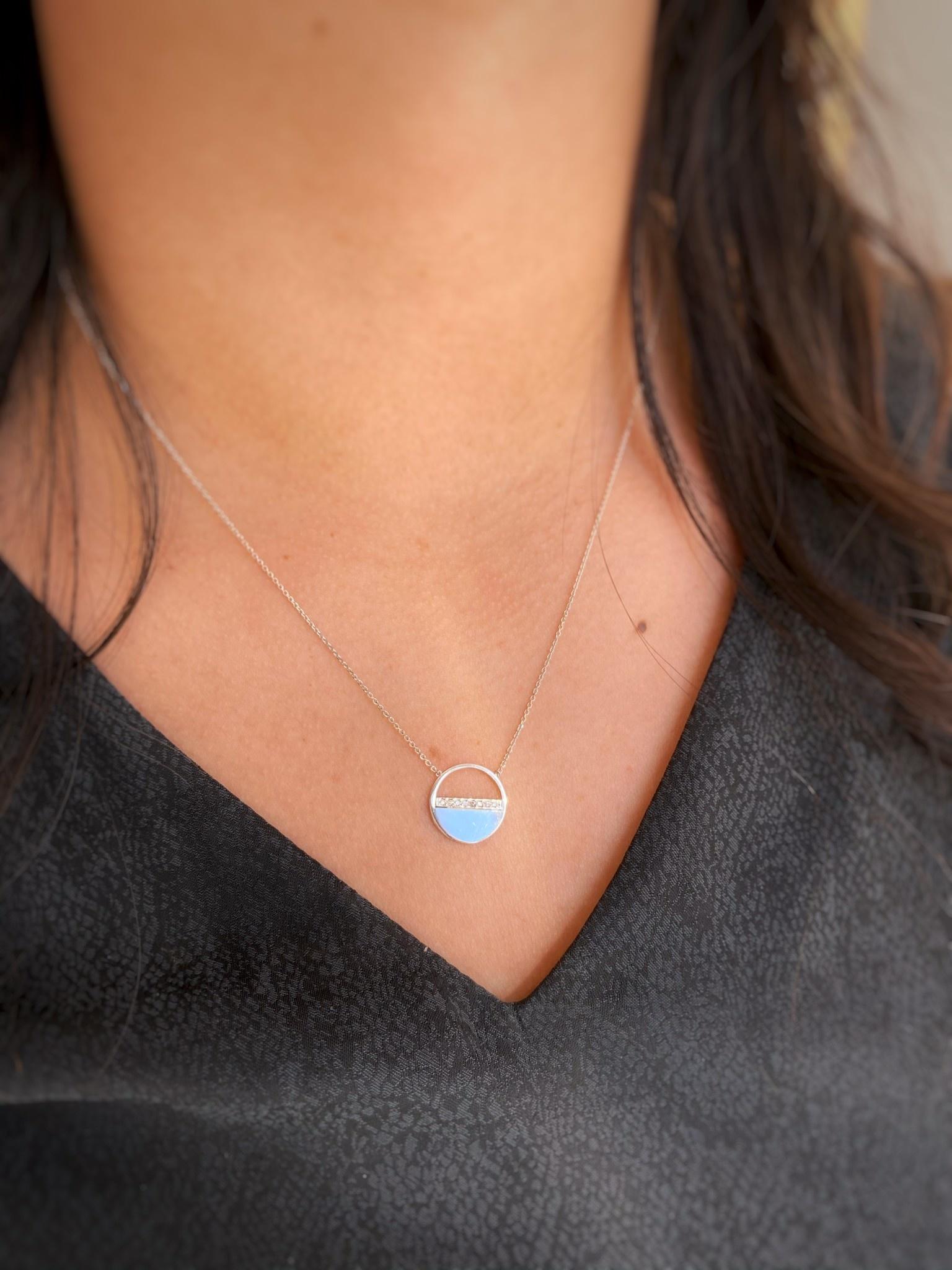 Half Circle Dia WG Necklace