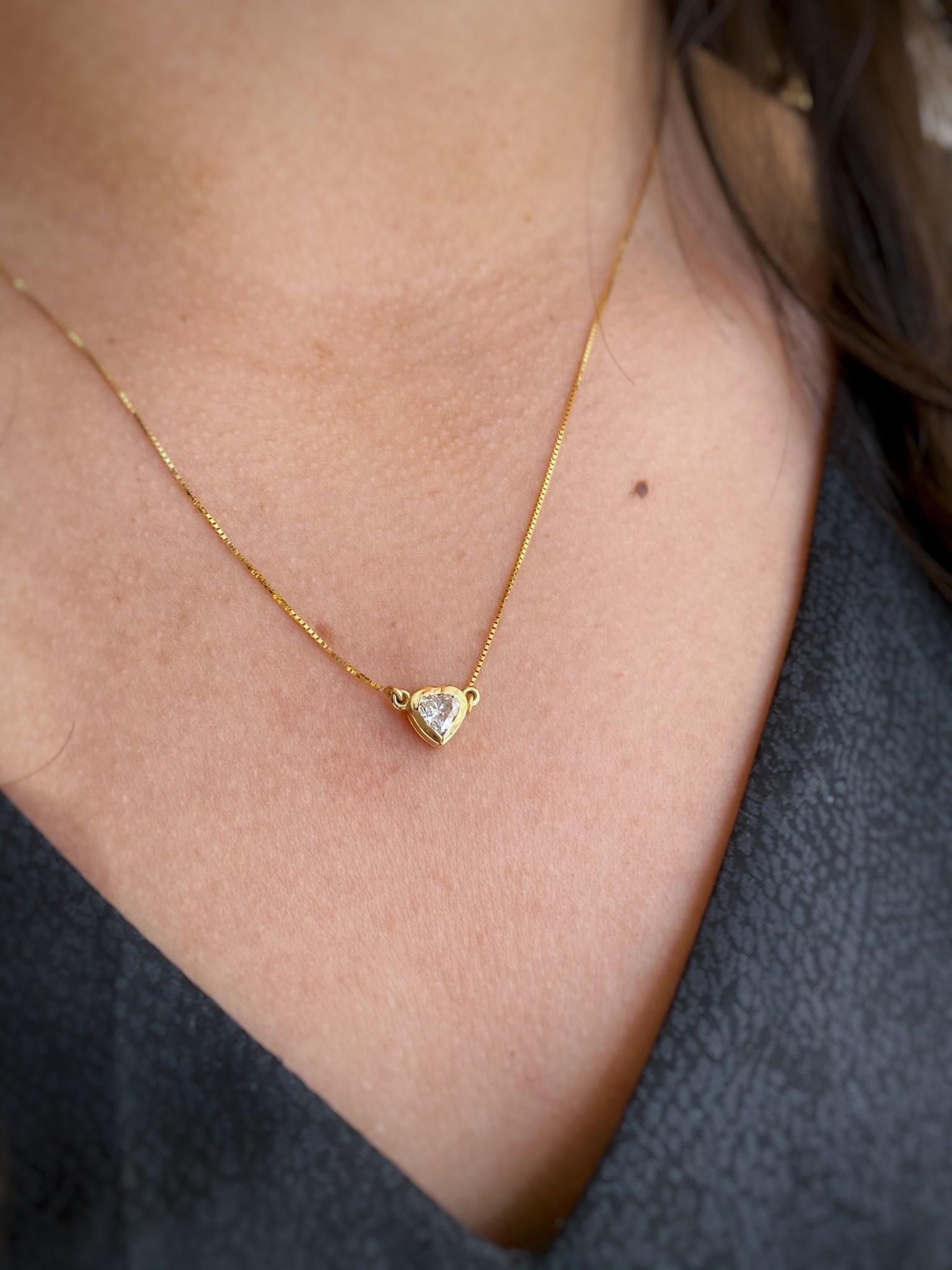 0.48ct Heart Diamond Bezel Necklace