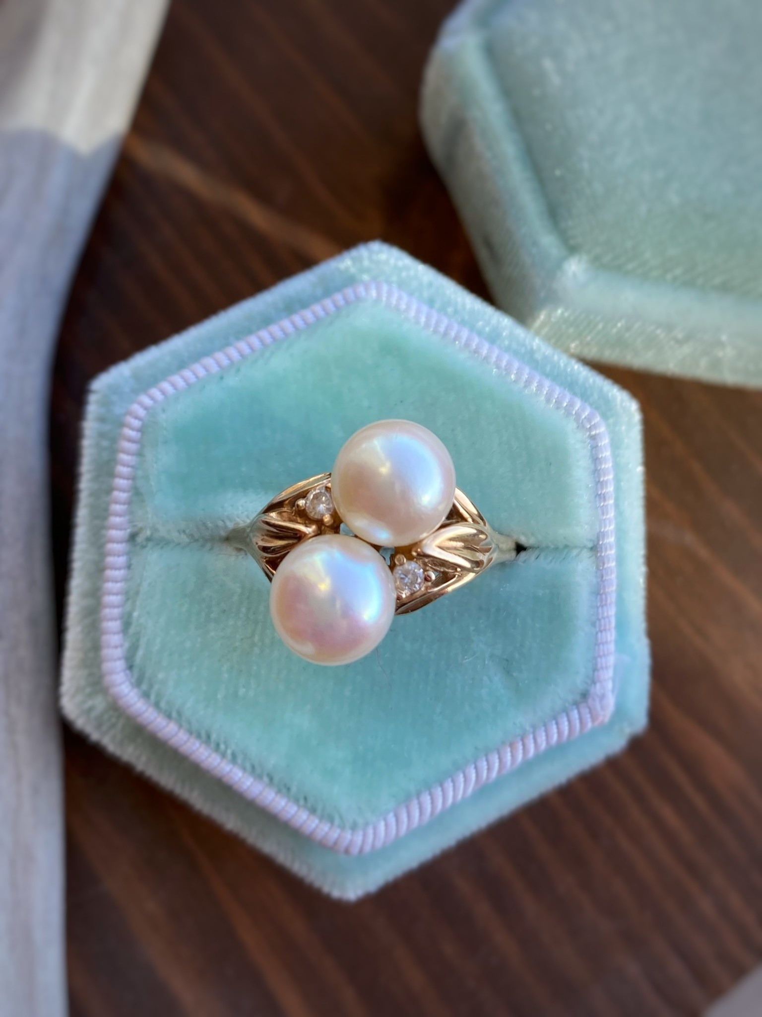 Two Stone Pearl Yellow Gold Ring