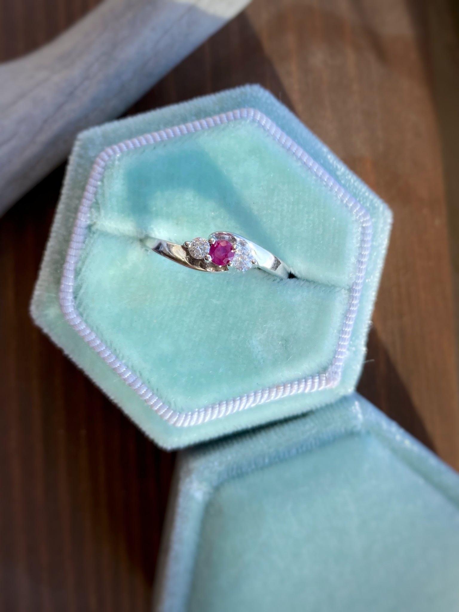14k White Gold Ruby and Diamond 3 Stone Ring