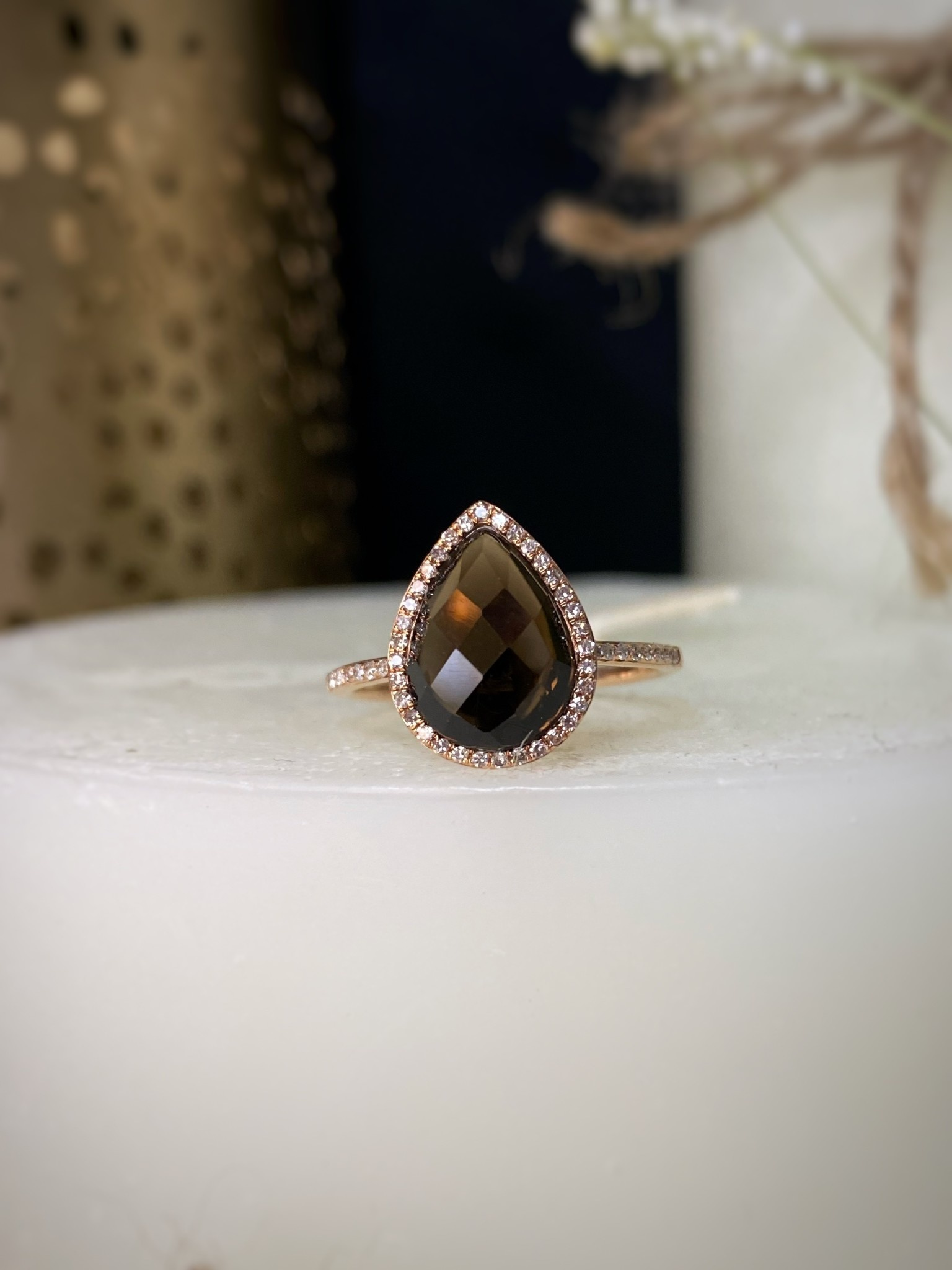 2.69ct Smokey Topaz & Diamond Rose Gold Ring
