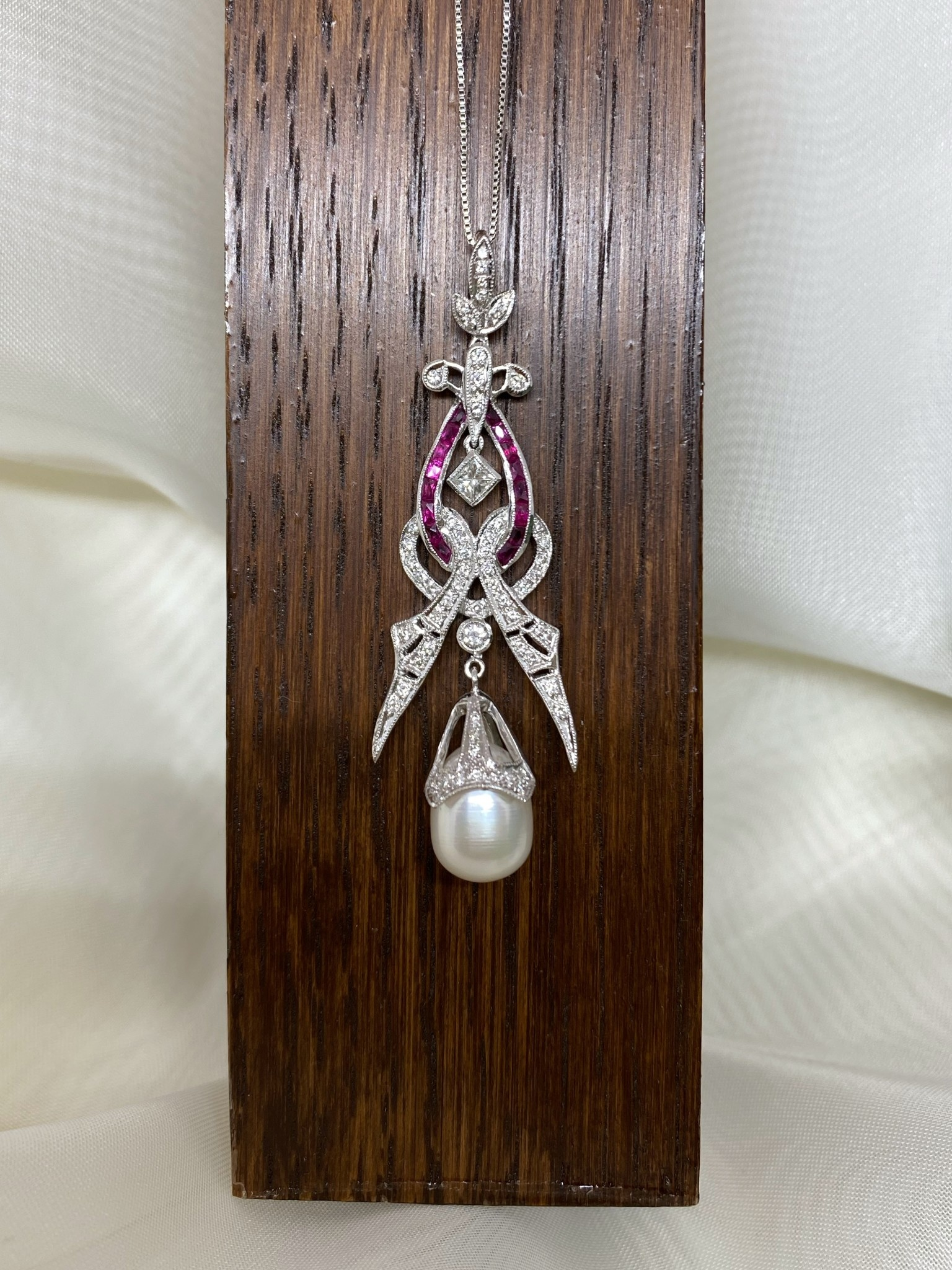 18k Ruby Pearl Diamond Art Deco Necklace