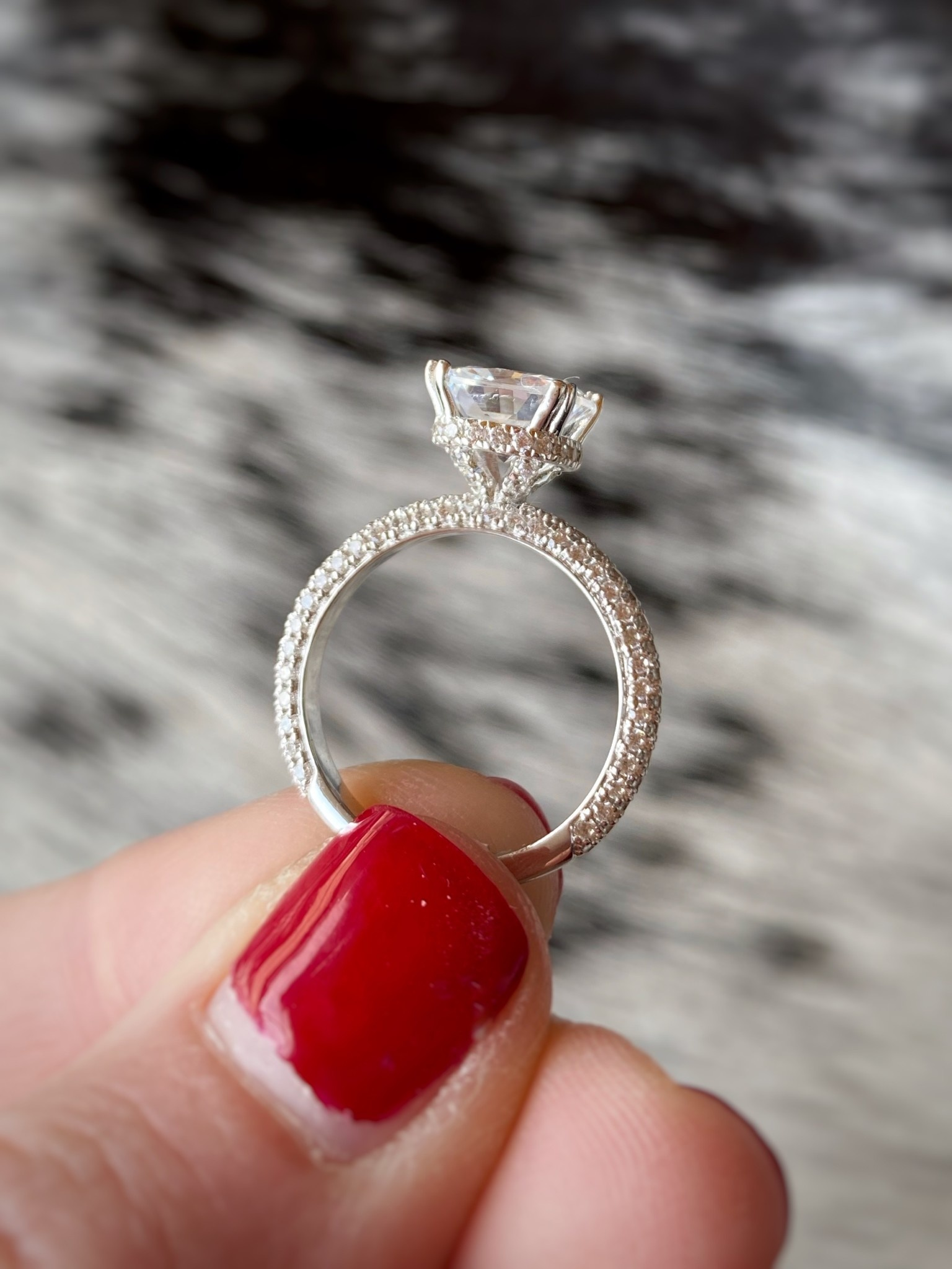 Pave Diamond Solitaire Semi-mount 0.90ctw