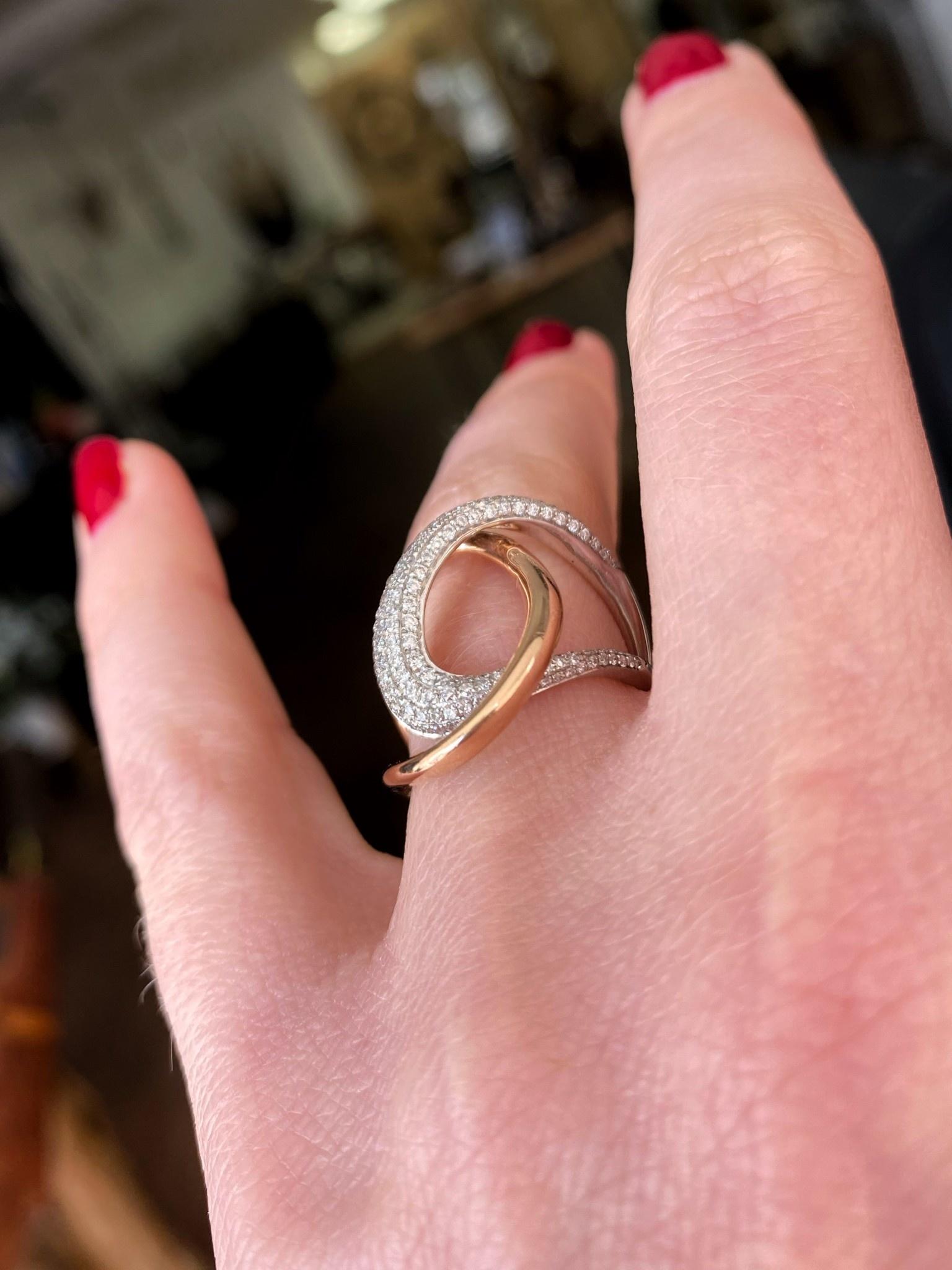 Two Tone Swirl Diamond Ring