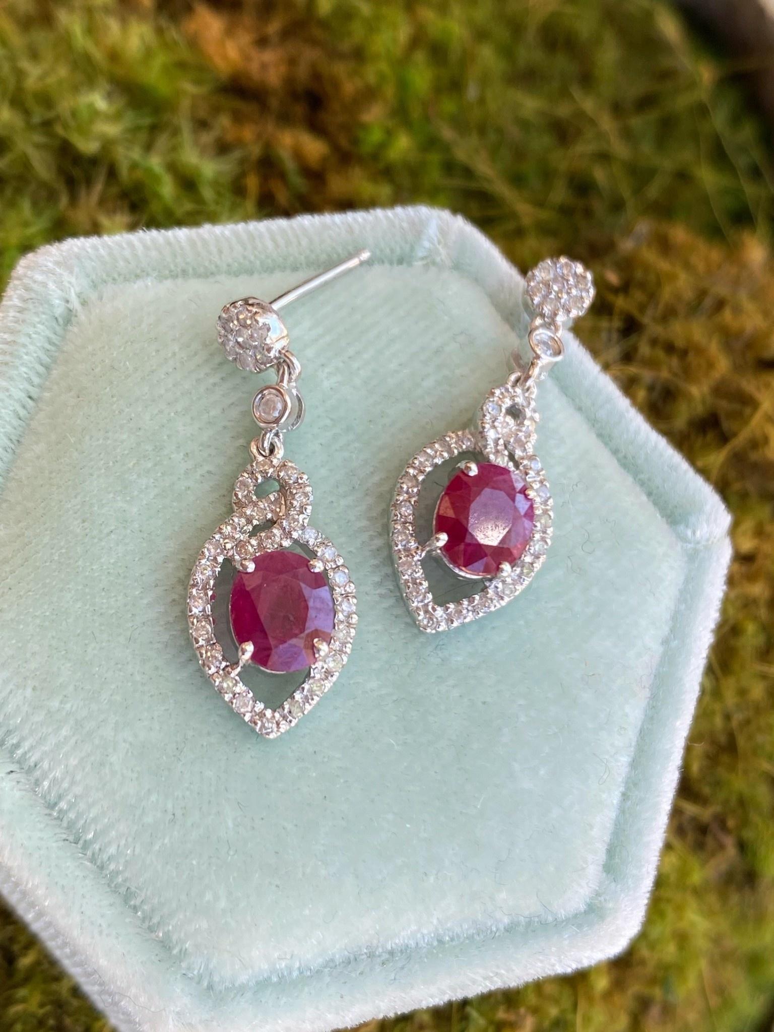 14K White Gold Ruby and Diamond Dangle Earrings