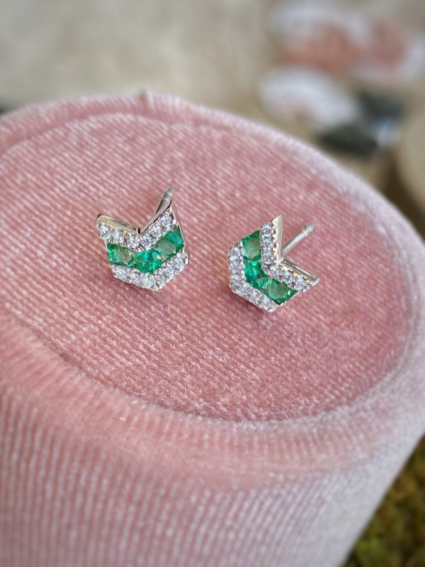 14K White Gold Emerald and Diamond Chevron Stud Earrings