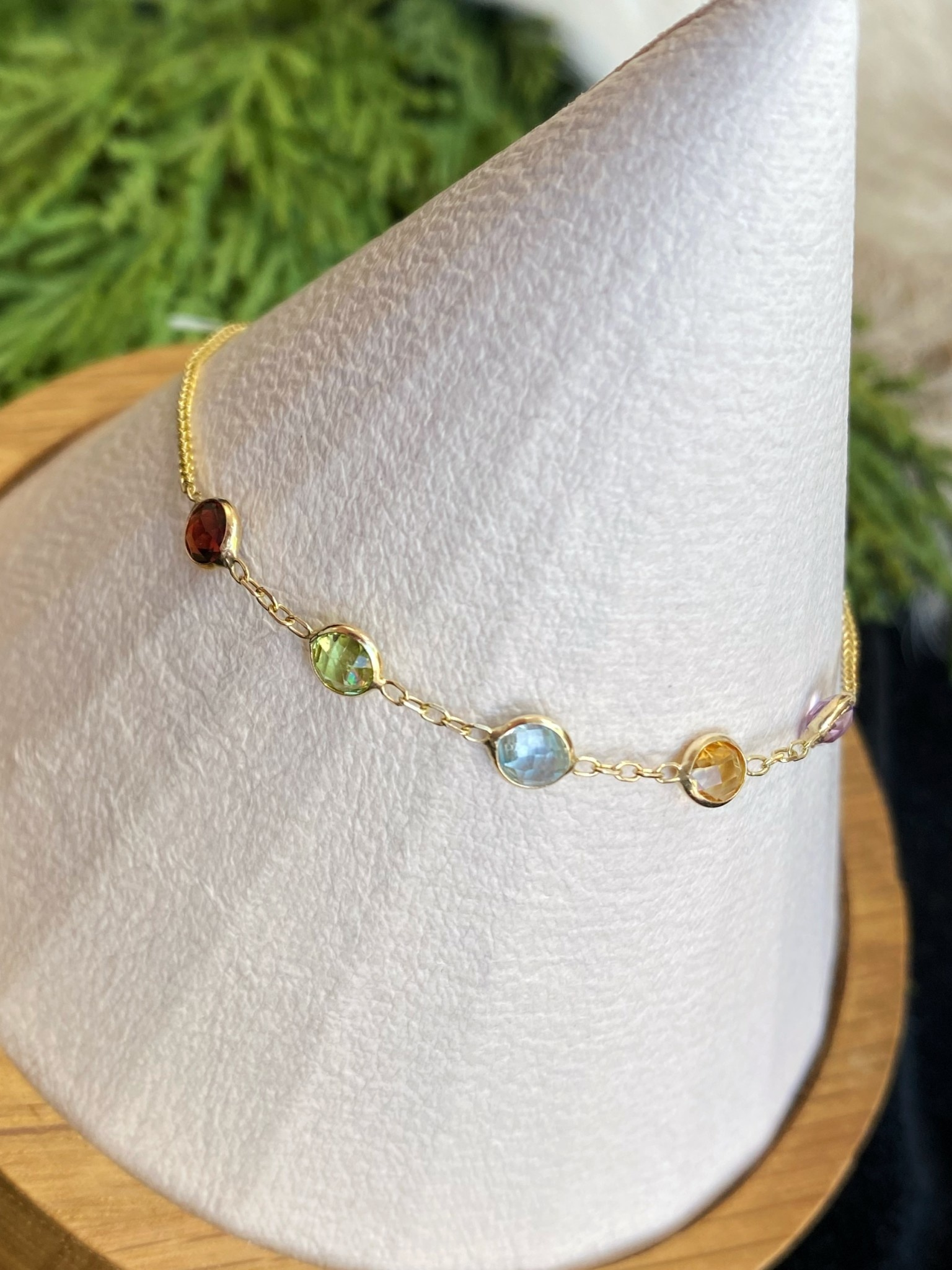 14K Yellow Gold Multi-colored Stone Bracelet