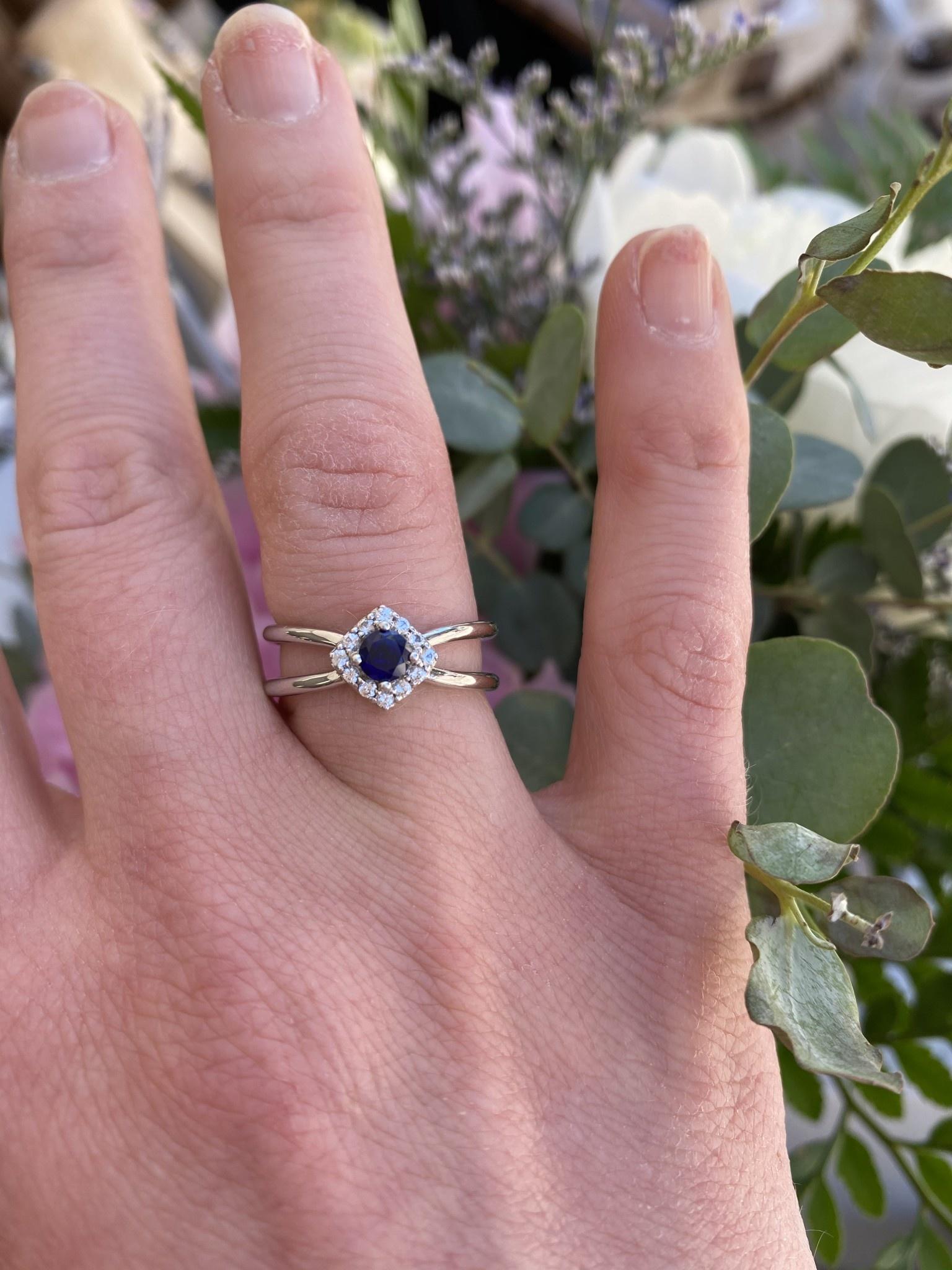 10K Gold Sapphire and Diamond Split Ring