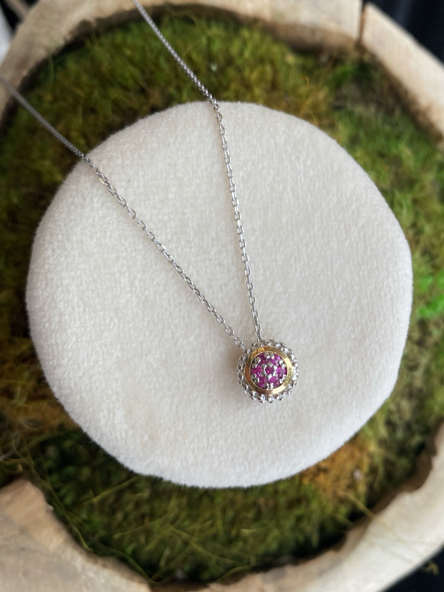 Yellow Gold and Sterling Silver Ruby pendant