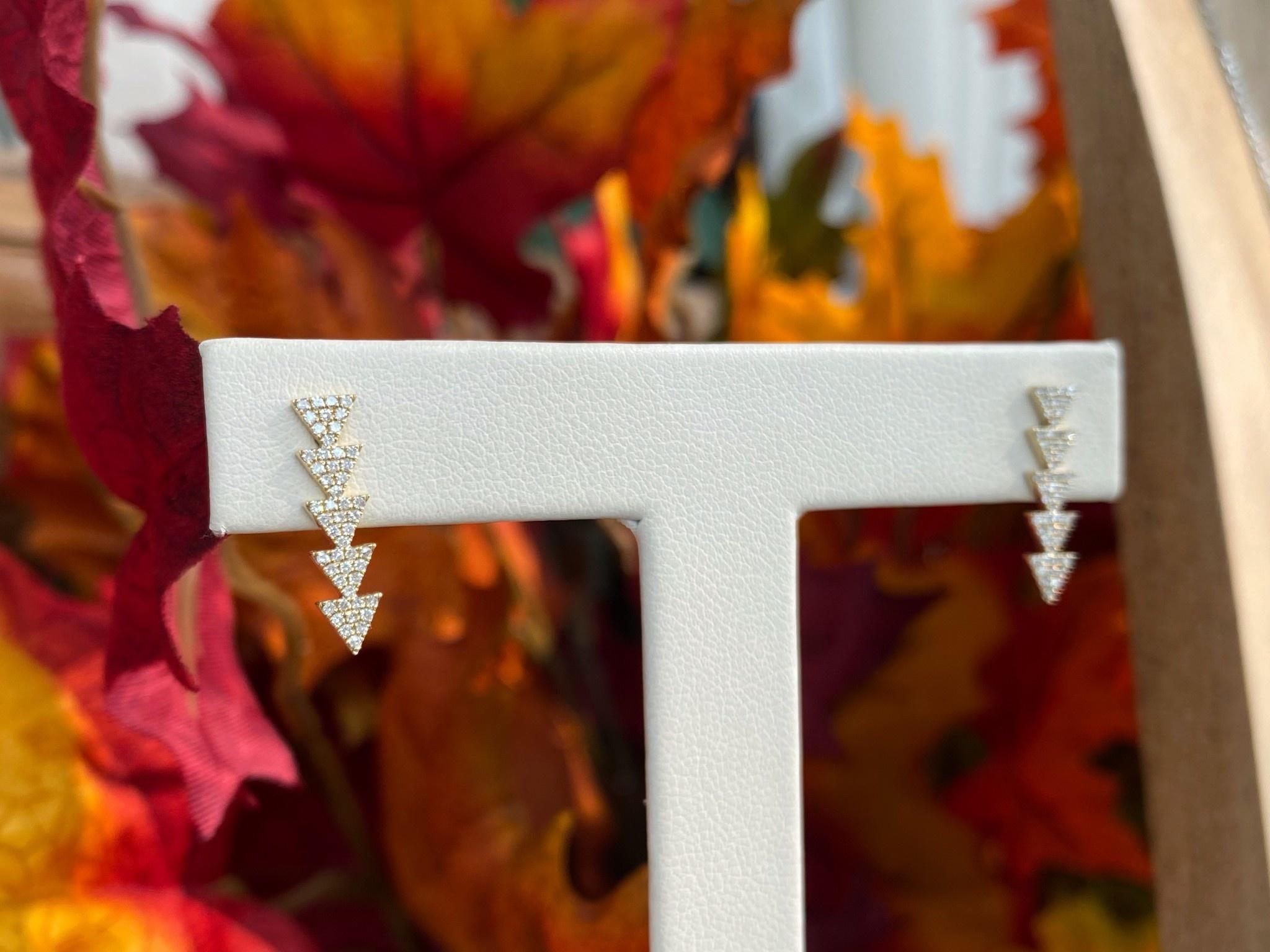 Triangle Bar Diamond Earrings