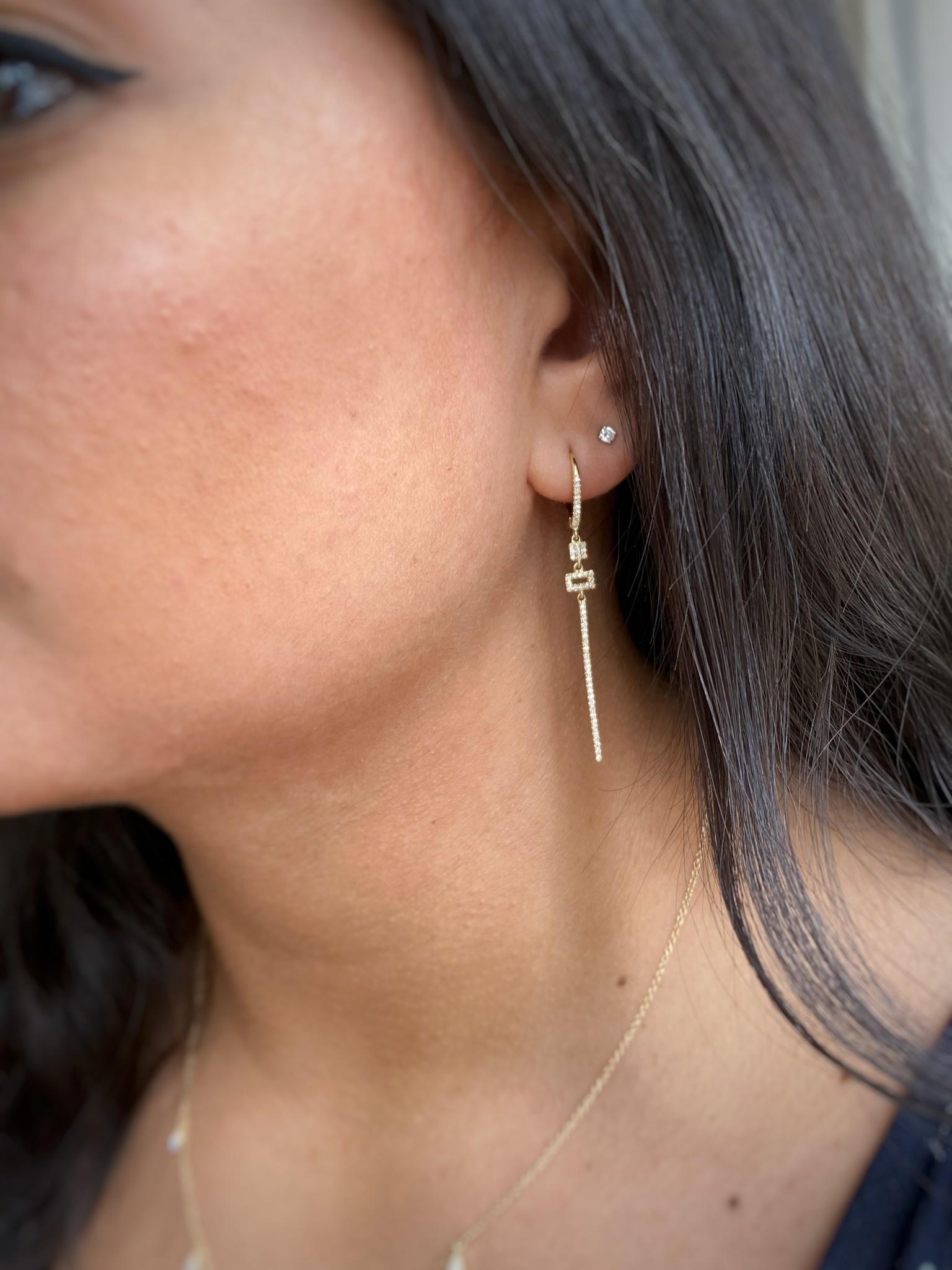 Long Diamond Drop Earrings