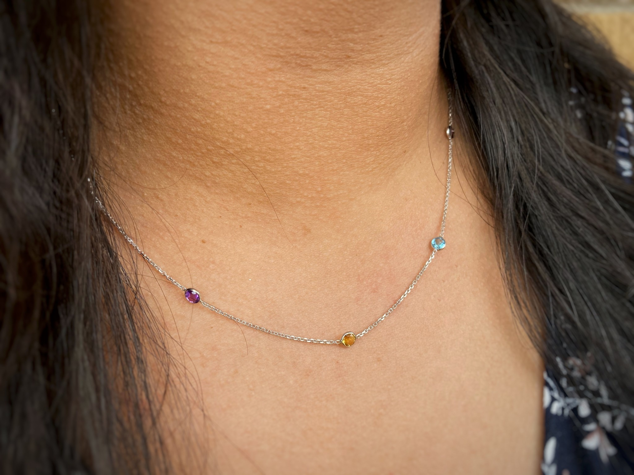 14K White Gold Multicolored Stones Necklace
