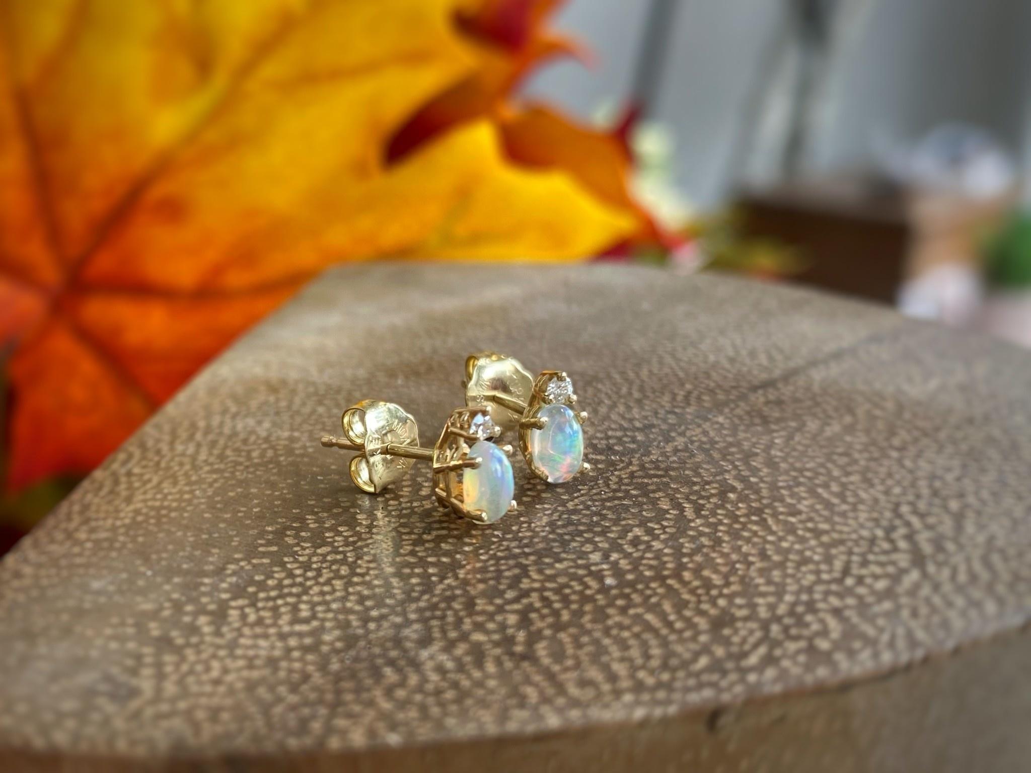 Ethiopian Opal and Diamond Stud Earrings