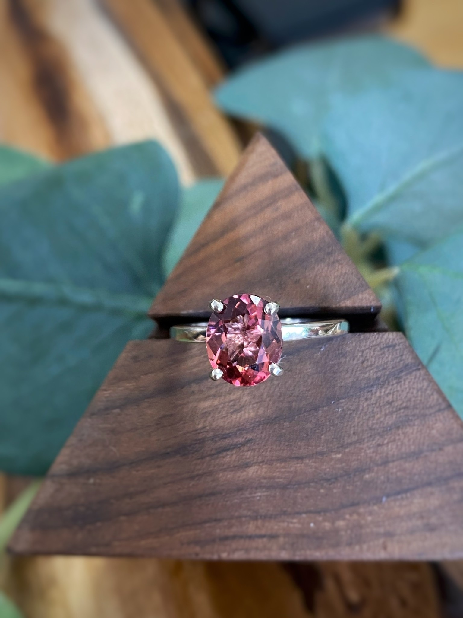 14K White Gold Tourmaline Solitaire Ring