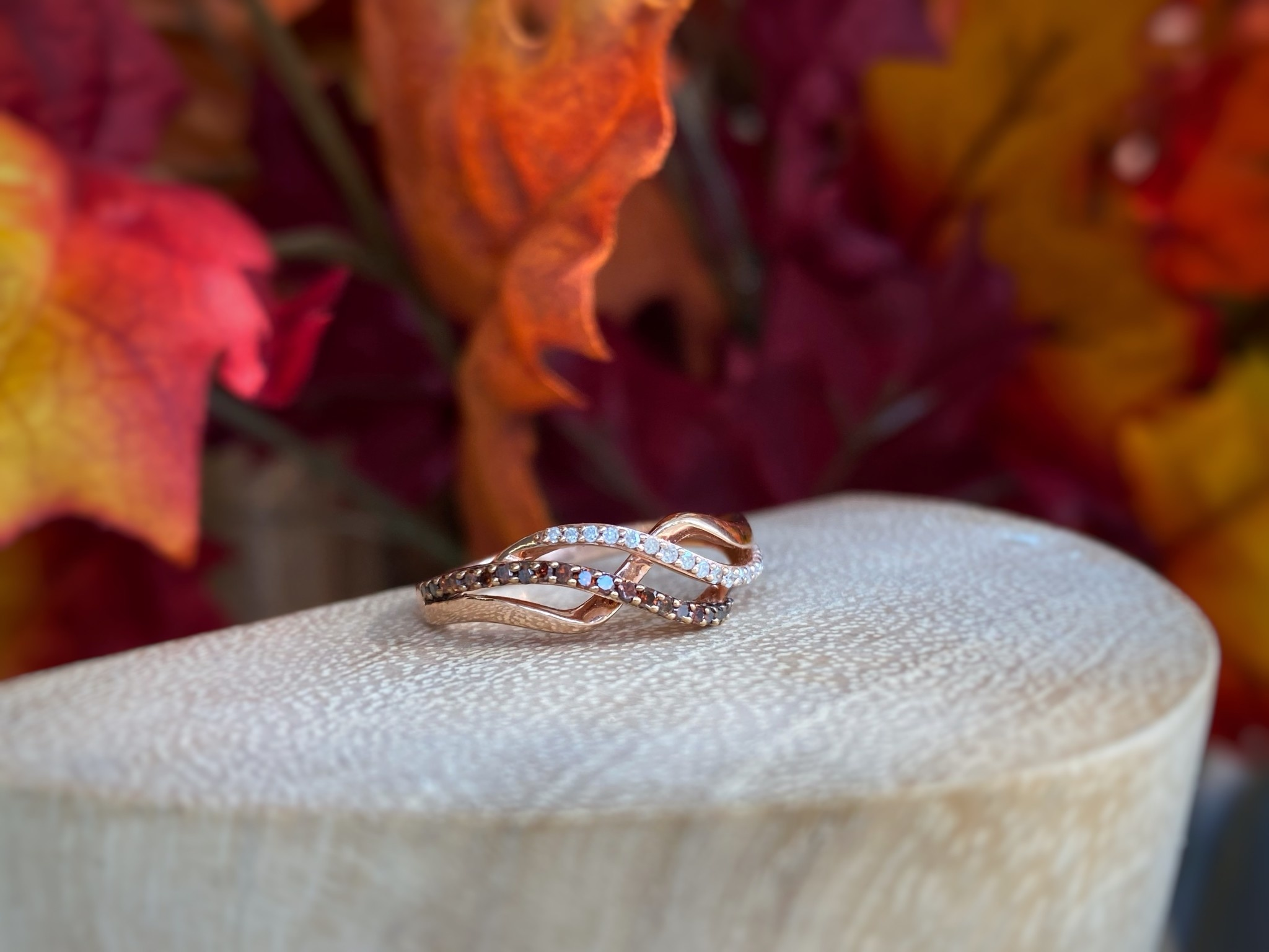 10K Rose Gold Red and White Diamonds Ring