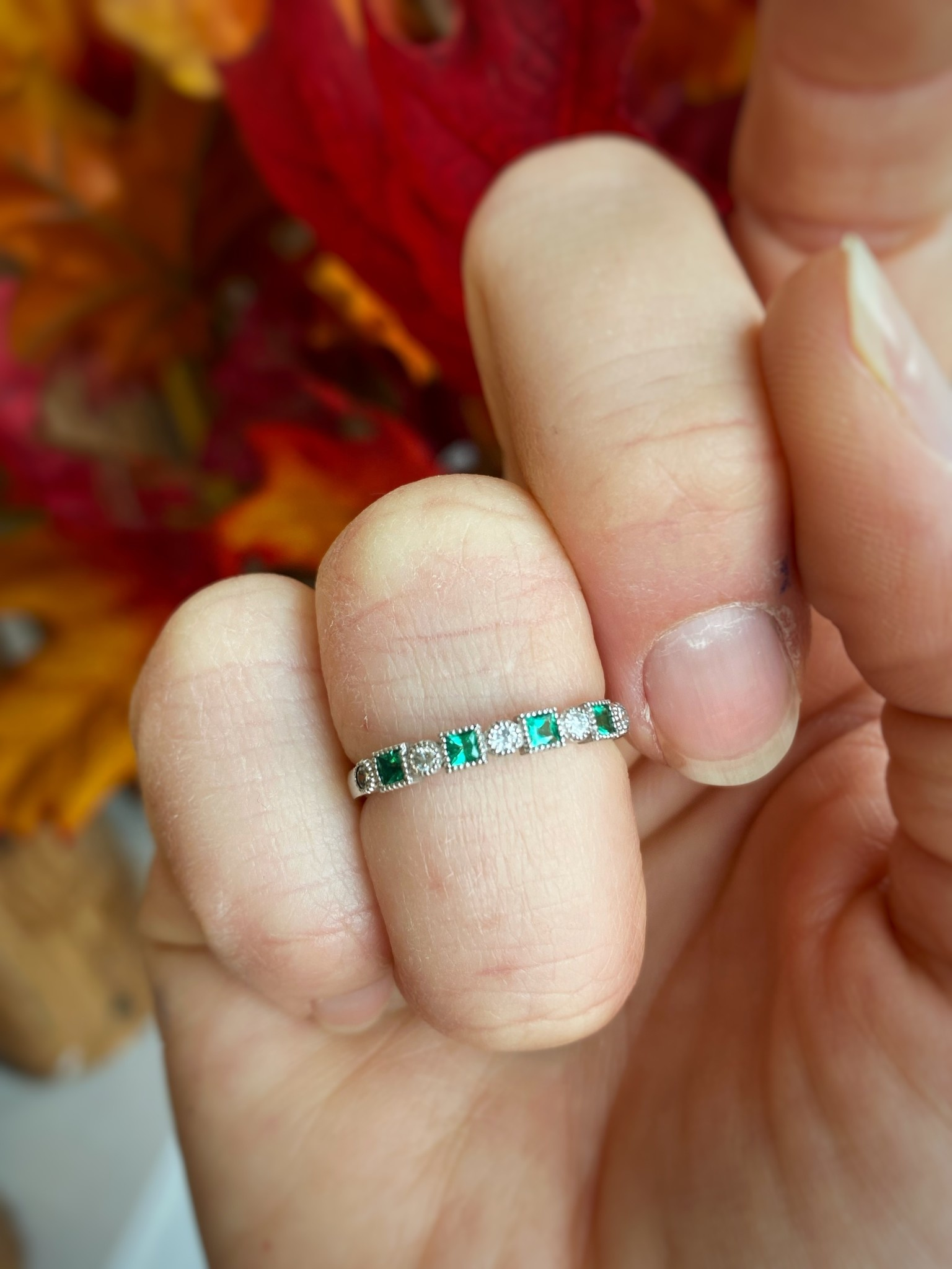 White Gold Emerald and Diamond Stack Ring