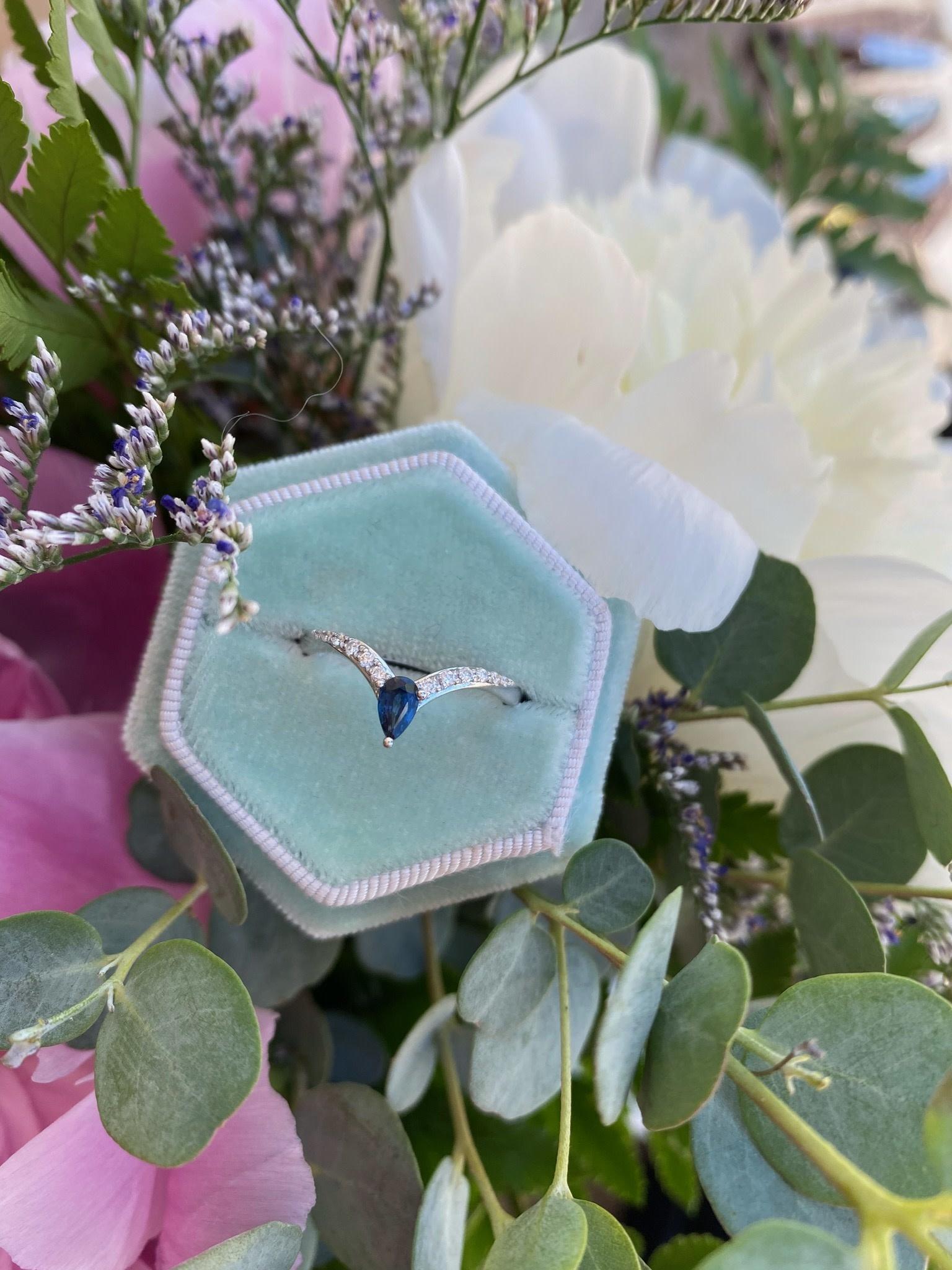 Chevron Sapphire and Diamond Ring