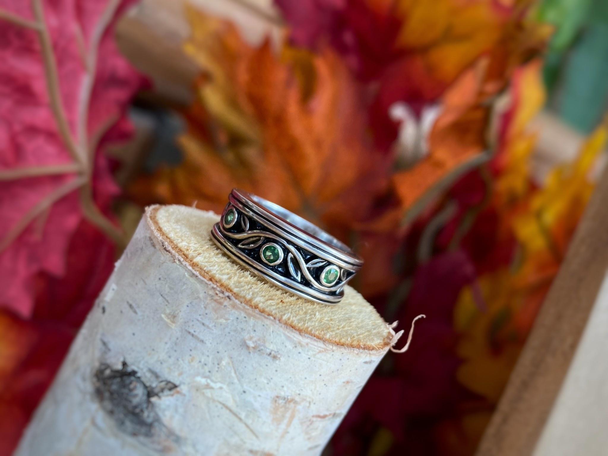 14K White Gold Tsavorite Ring
