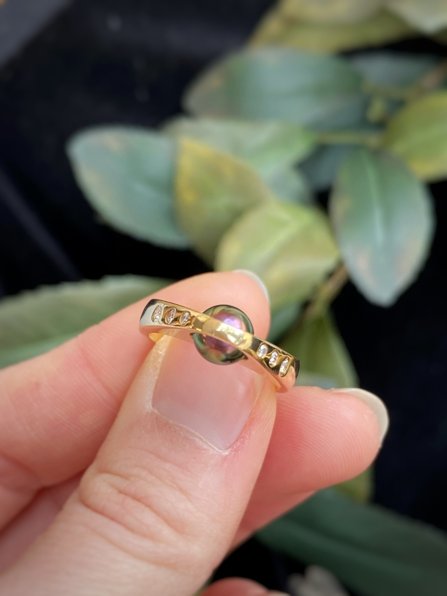 14K Yellow Gold Black Pearl and Diamond Ring