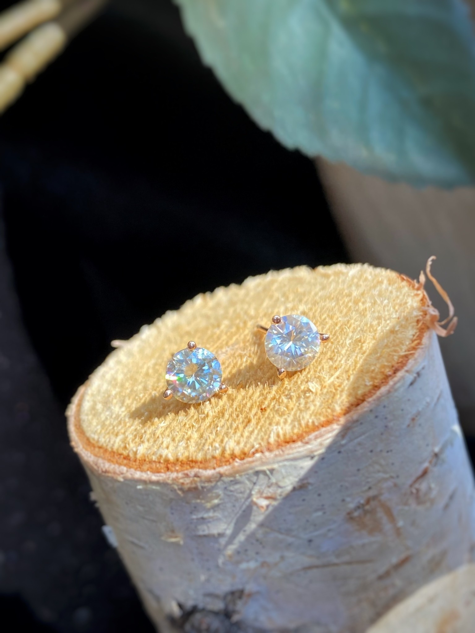 Rose Gold Moissanite Stud Earrings