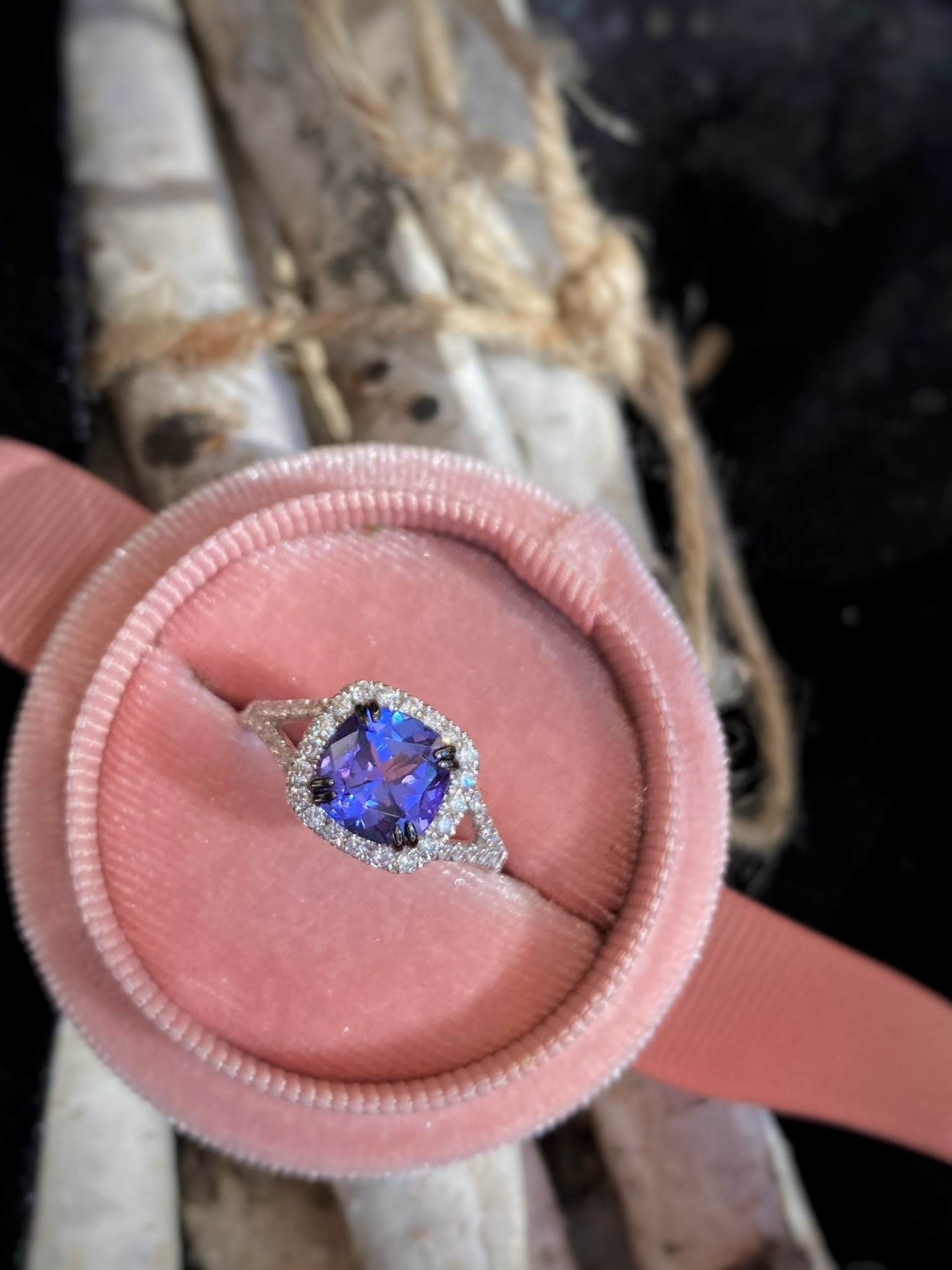 Tanzanite and Diamond Ring with Black Prongs