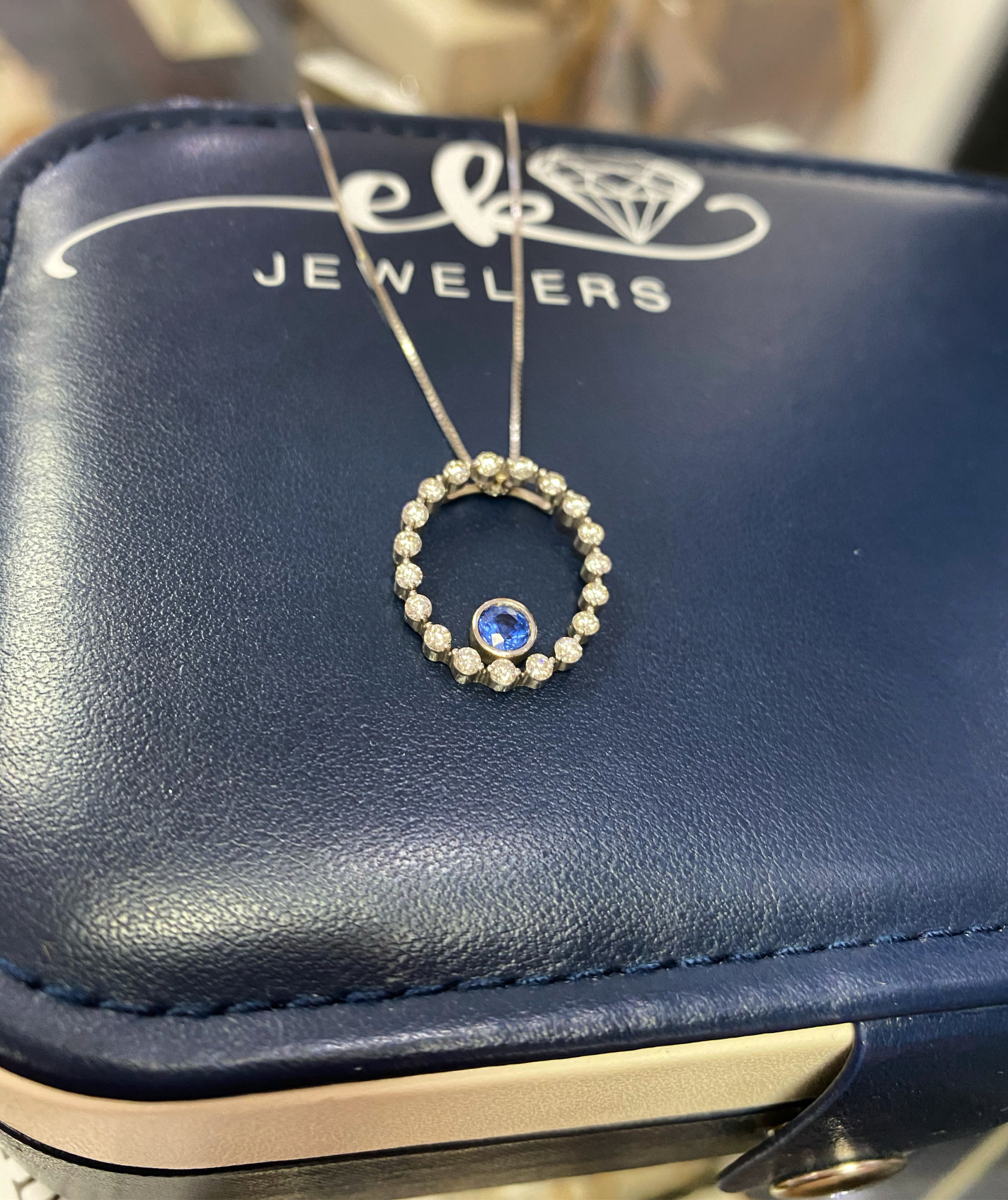 Kanja Sapphire and Diamond Halo Necklace