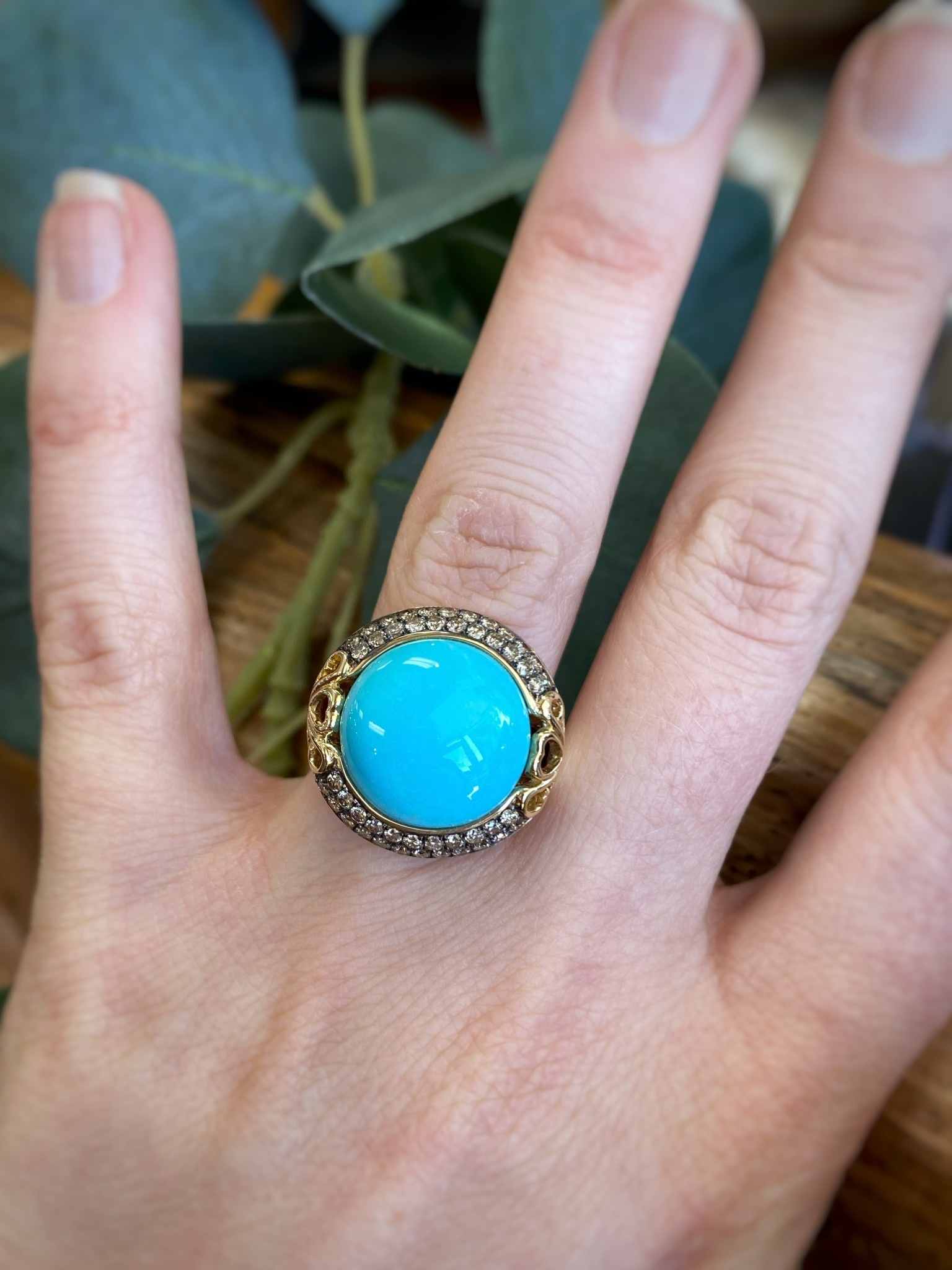 Turquoise and Chocolate Diamonds Ring