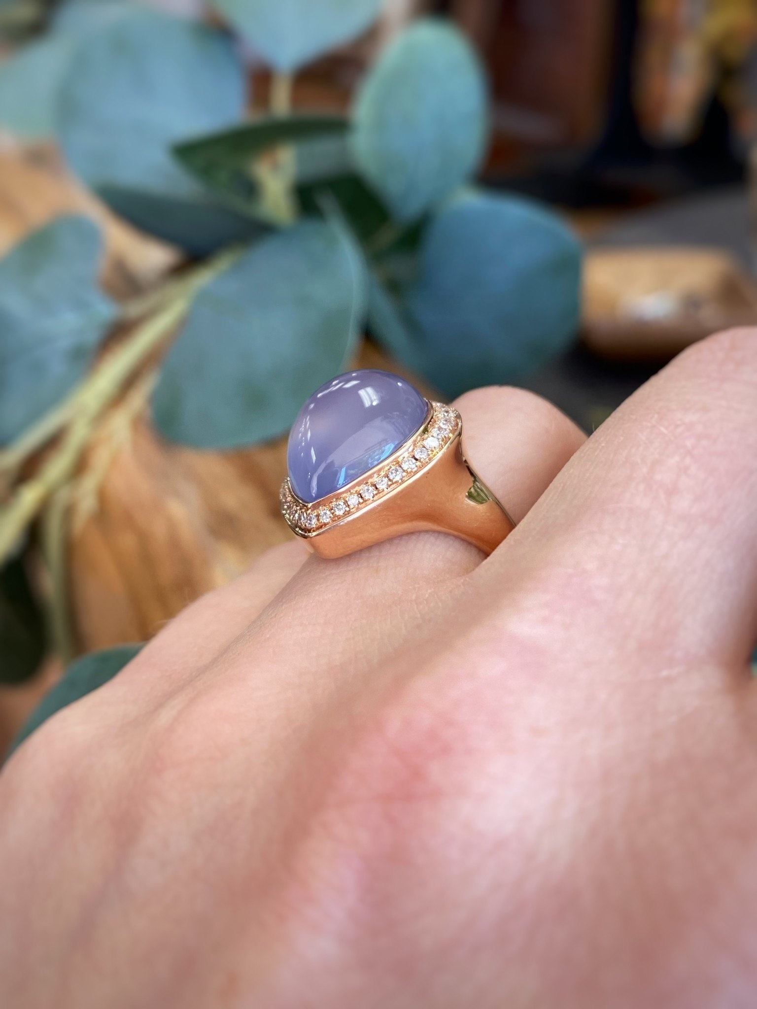 14K Rose Gold Chalcedony Diamond Ring