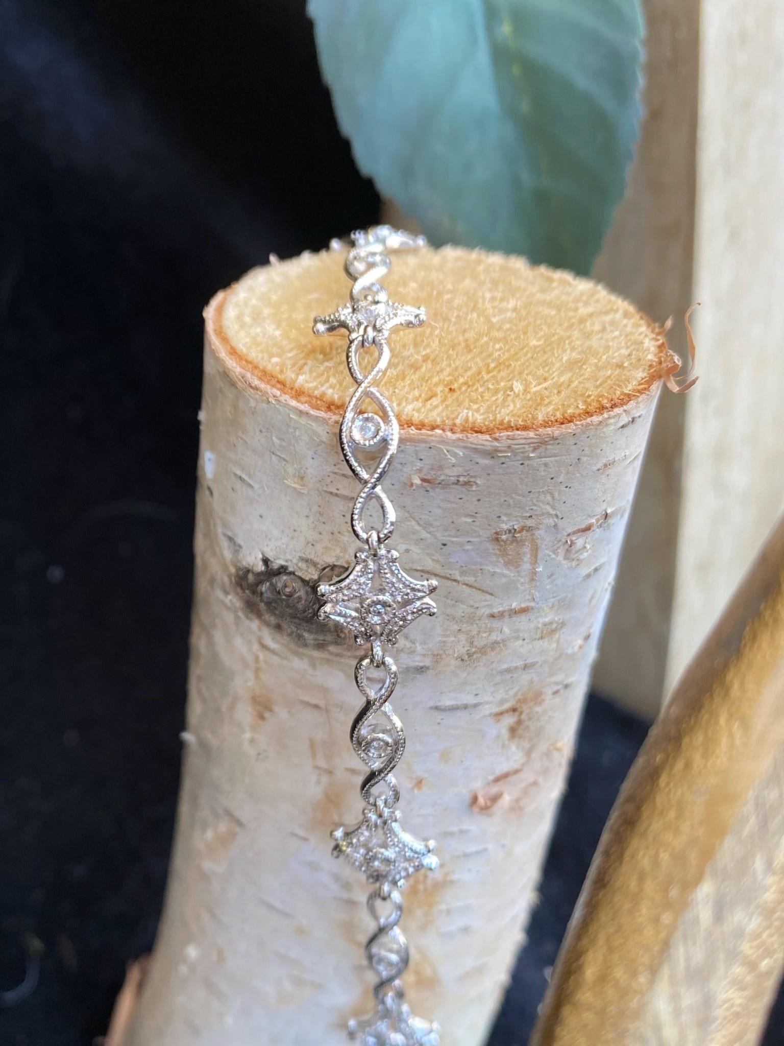 14K White Gold Diamond Vintage Bracelet