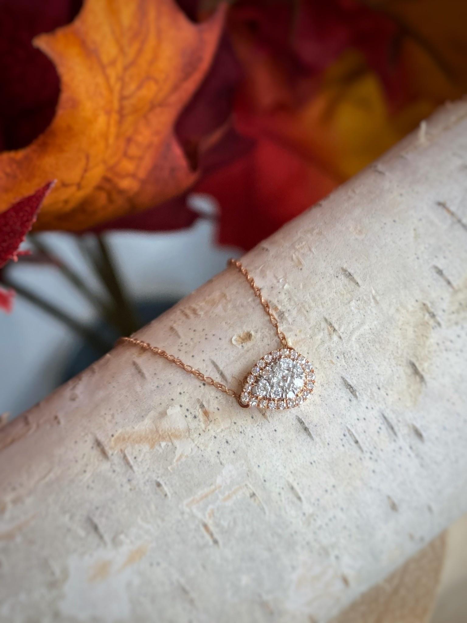 Sideways Pear Diamond Cluster Necklace