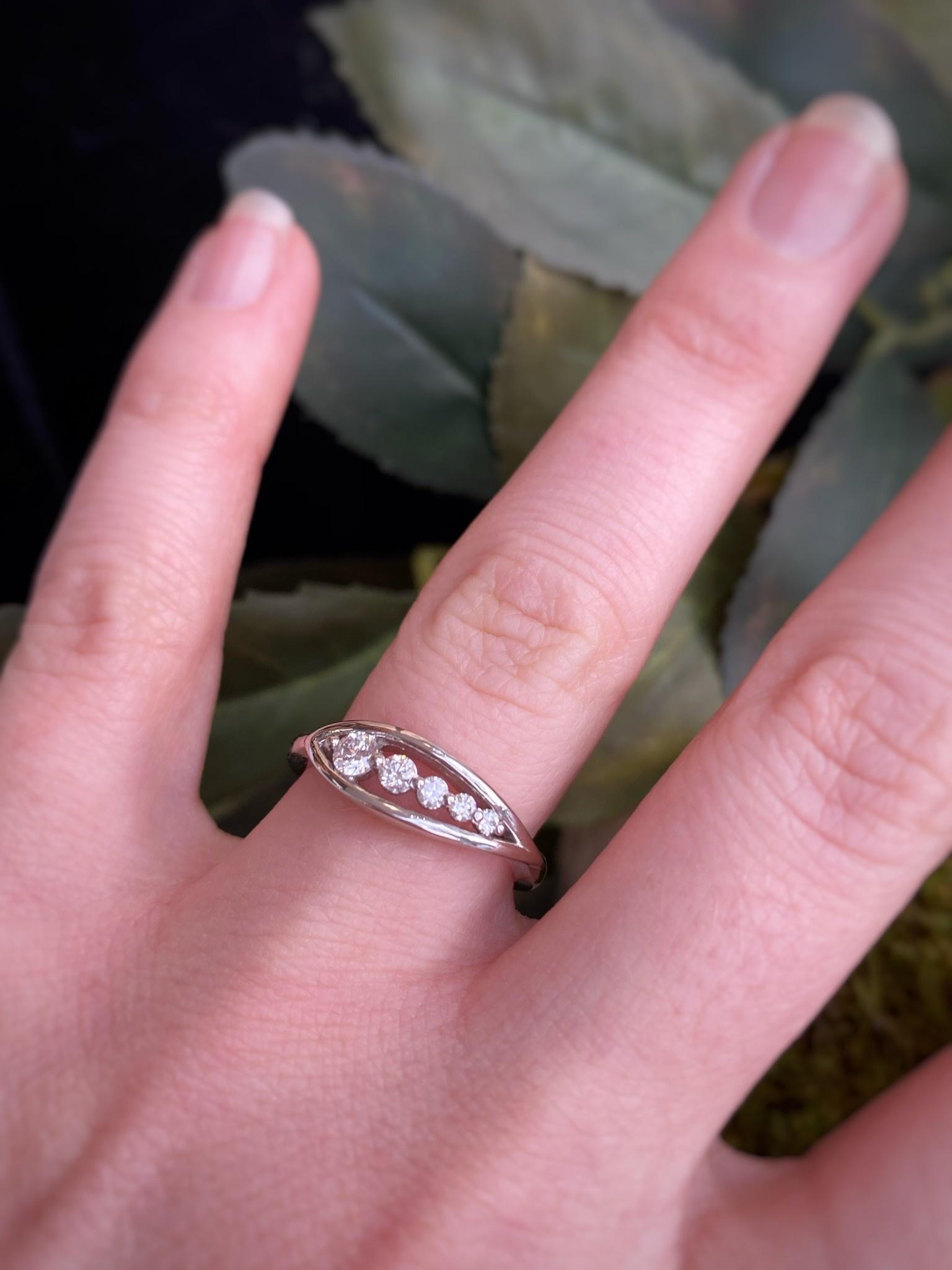 14K White Gold Five Diamond Ring
