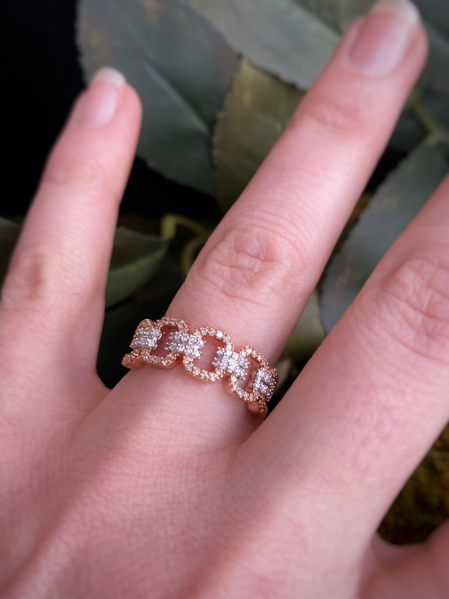 10K Rose Gold Diamond Open Link Band Ring