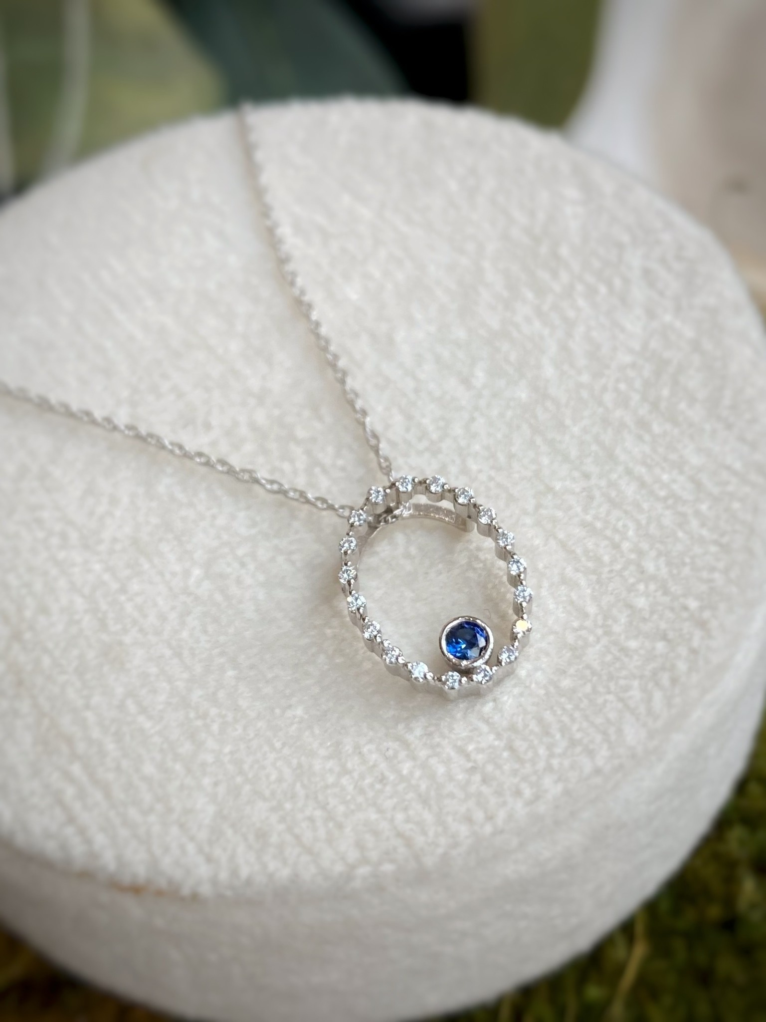 10K White Gold Sapphire and Diamond Open Oval Necklace