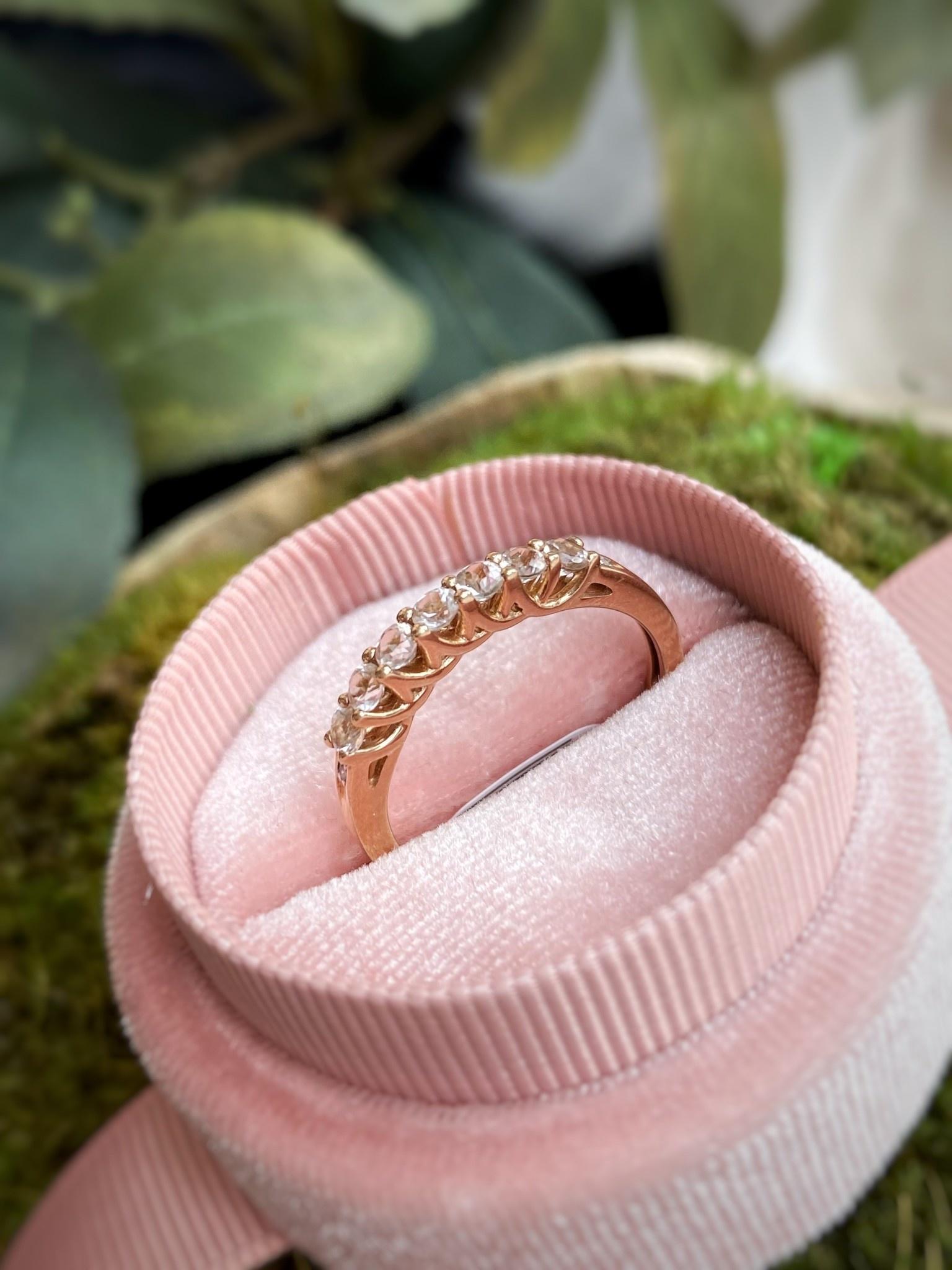 10K Rose Gold Morganite and Diamond Band Ring