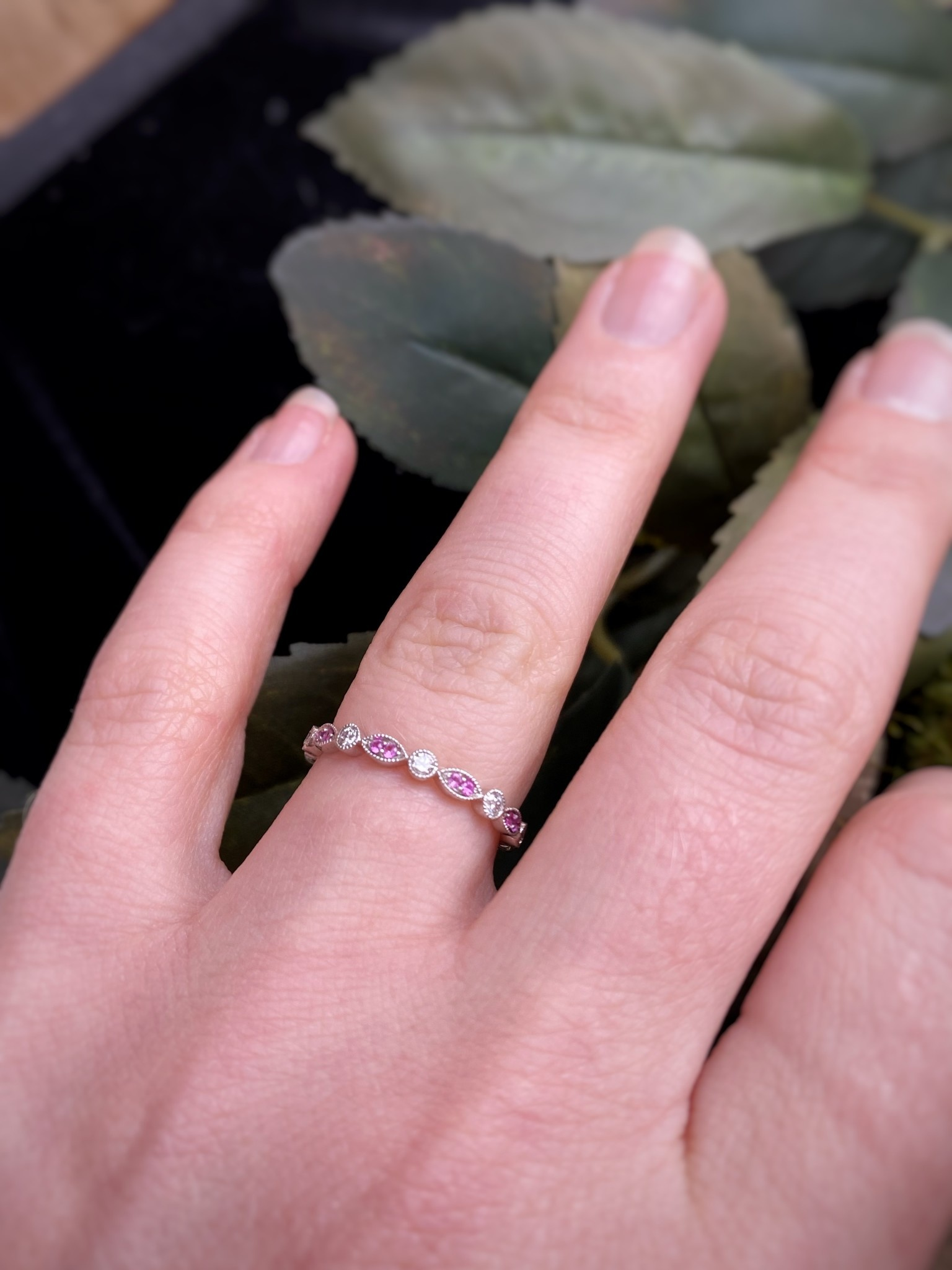 White Gold Pink Sapphire and Diamond Stack Band Ring
