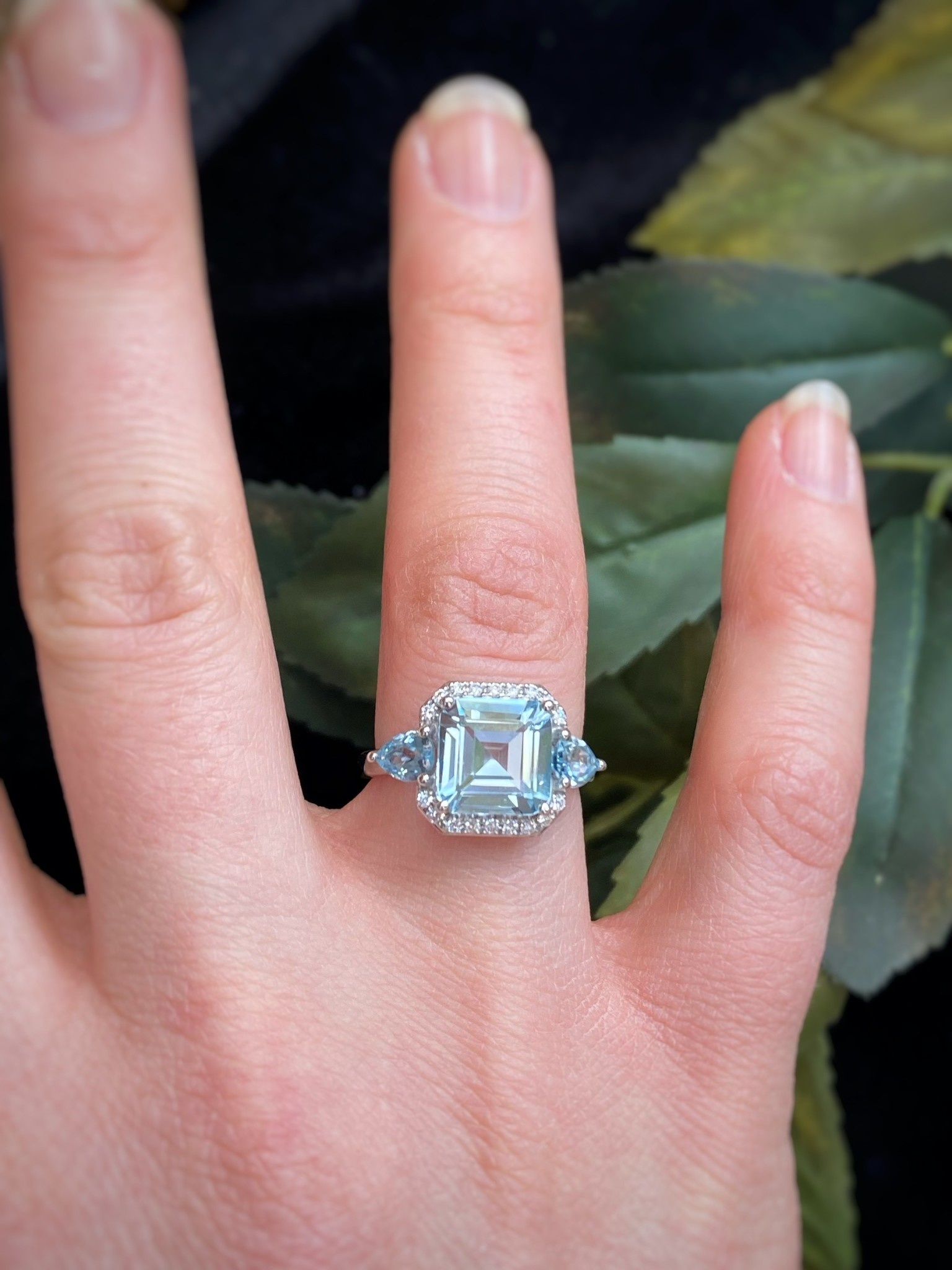 14K White Gold Diamond and Aquamarine Asscher Ring