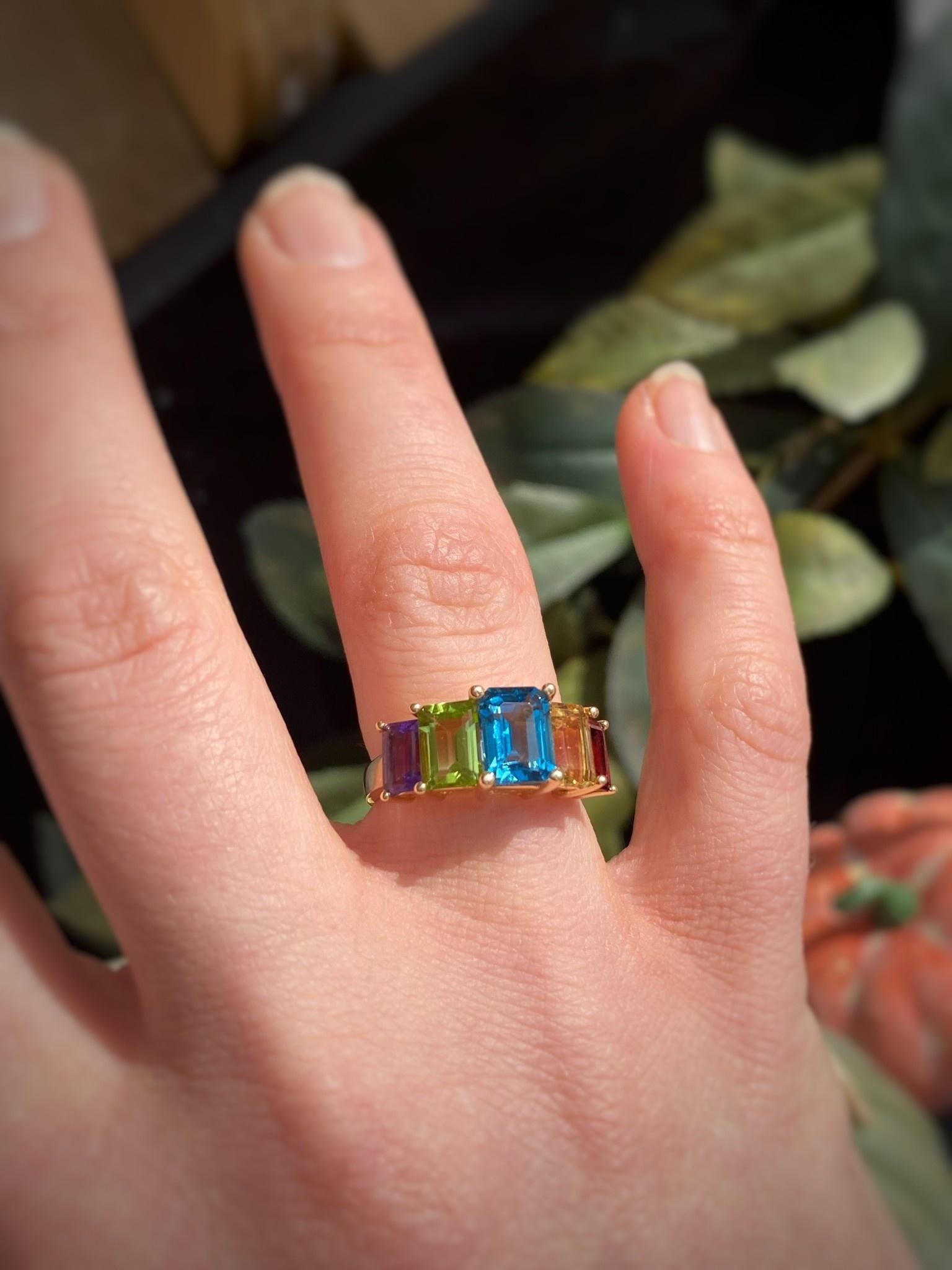 14K Yellow Gold Multi Gemstone Band Ring