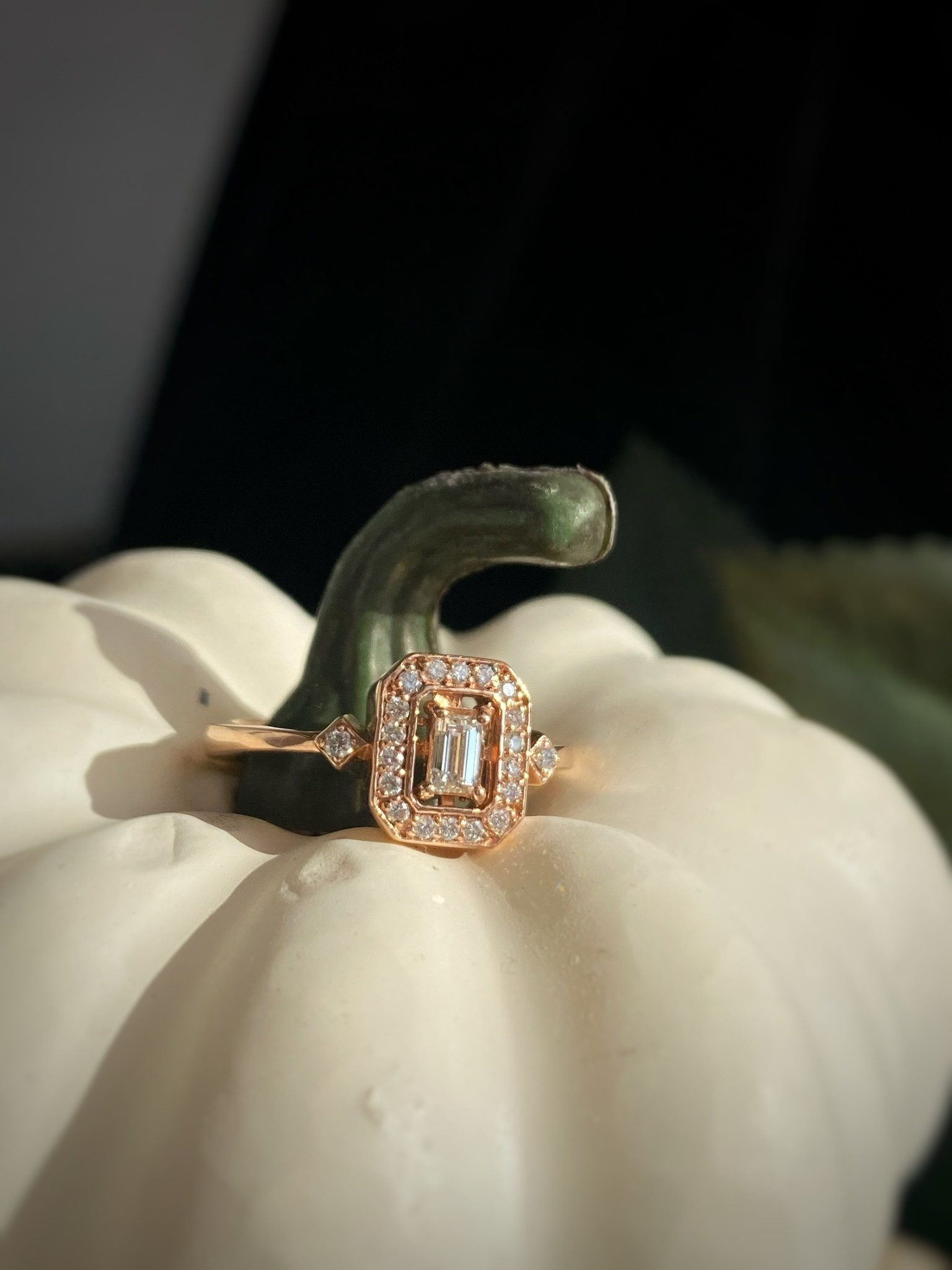 Emerald Cut Diamond Rose Gold Ring