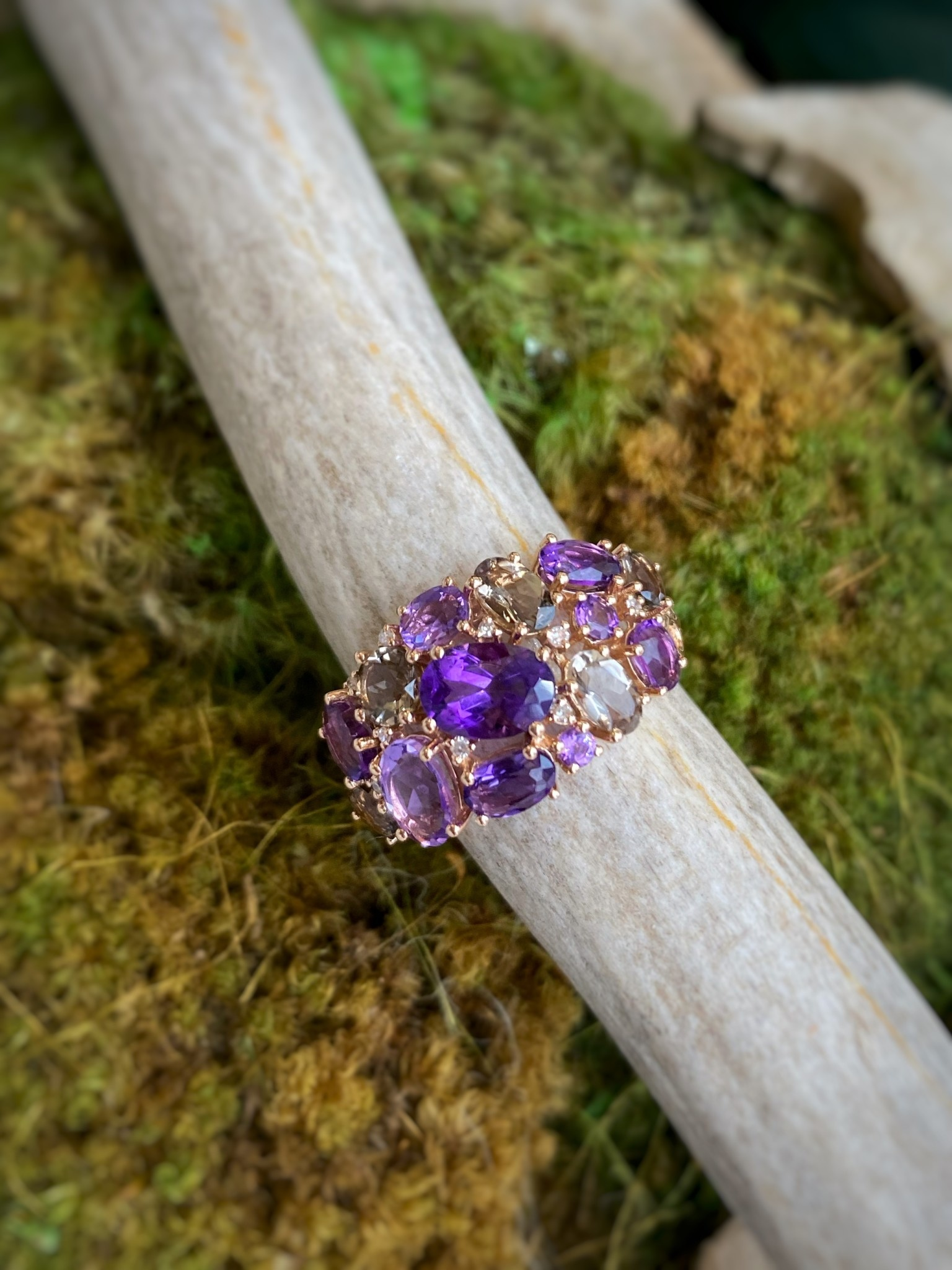 14K Yellow Gold Smoky Quartz Amethyst and Diamond Ring