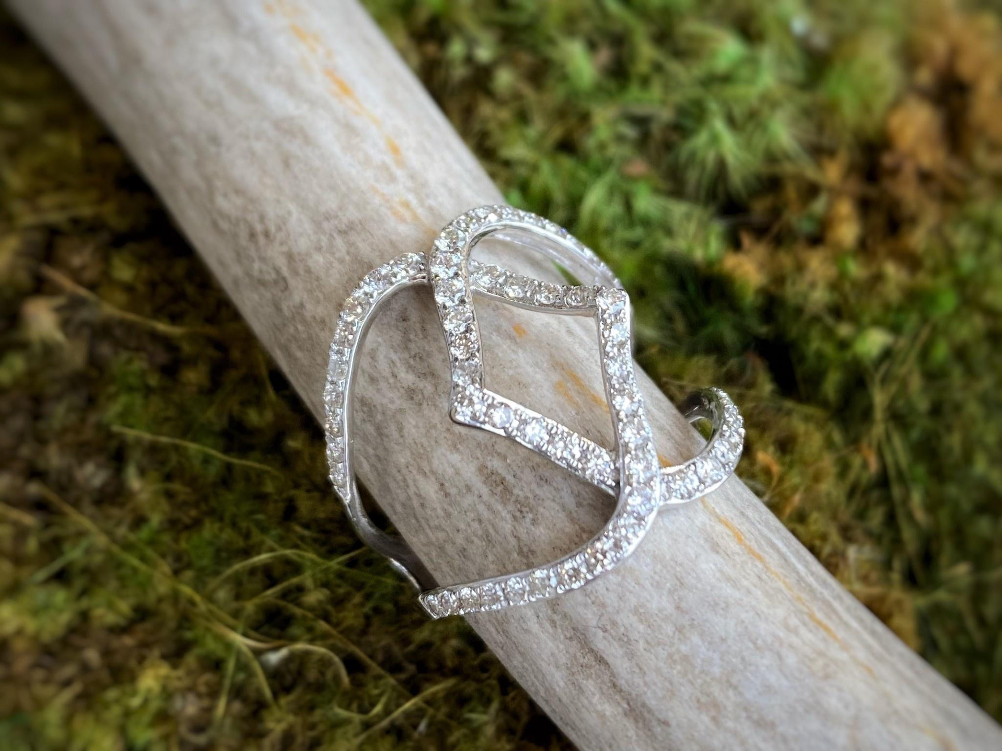14K White Gold Open Diamond ring