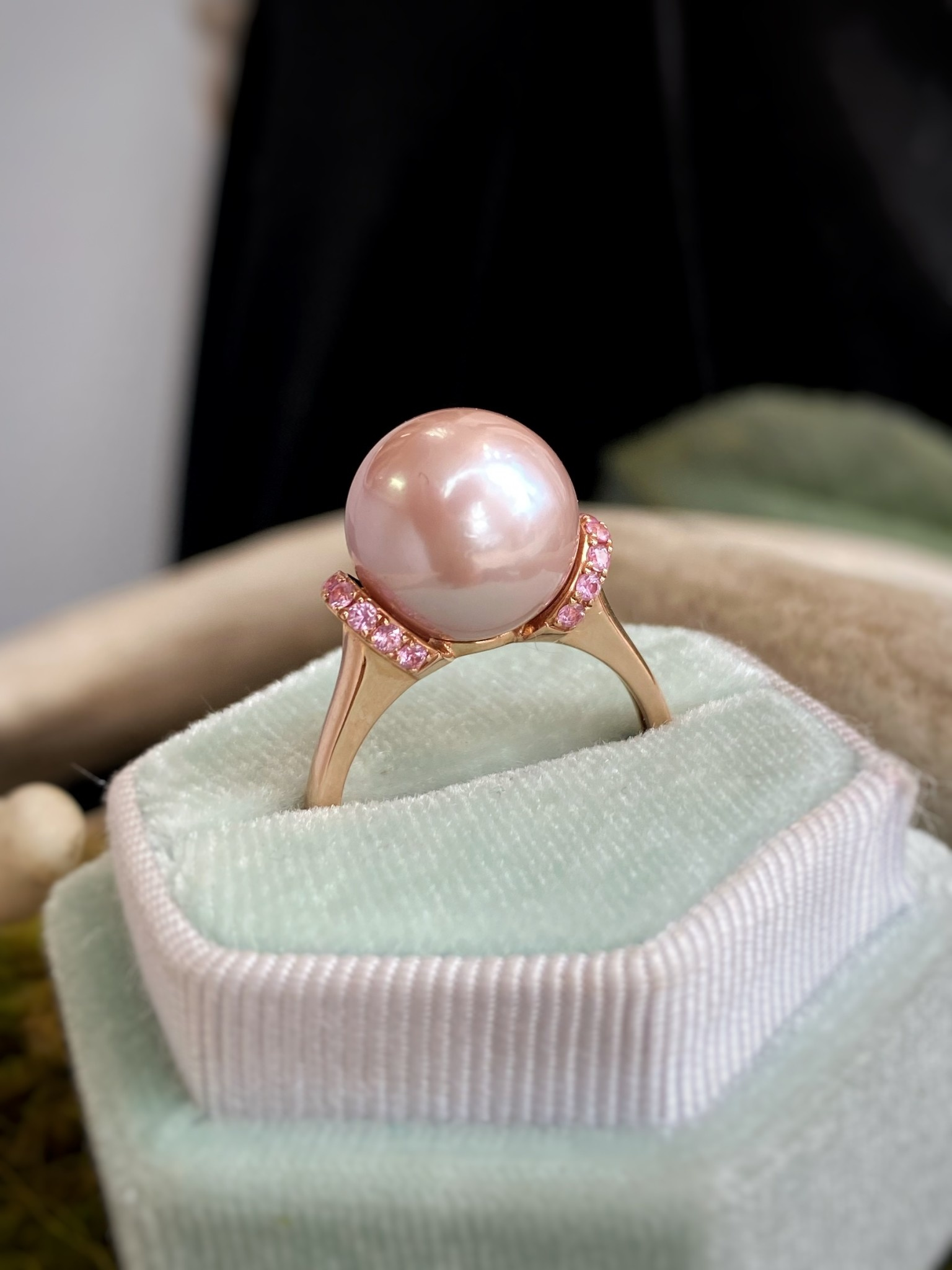14K Rose Gold Sapphires and Pearl Ring