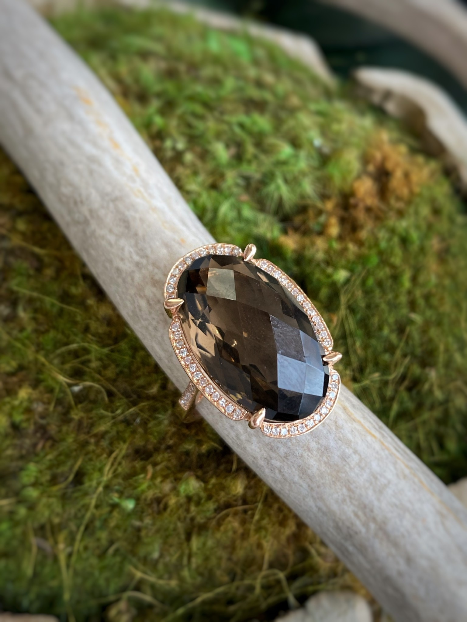 14K Rose Gold Smoky Quartz and Diamond Ring