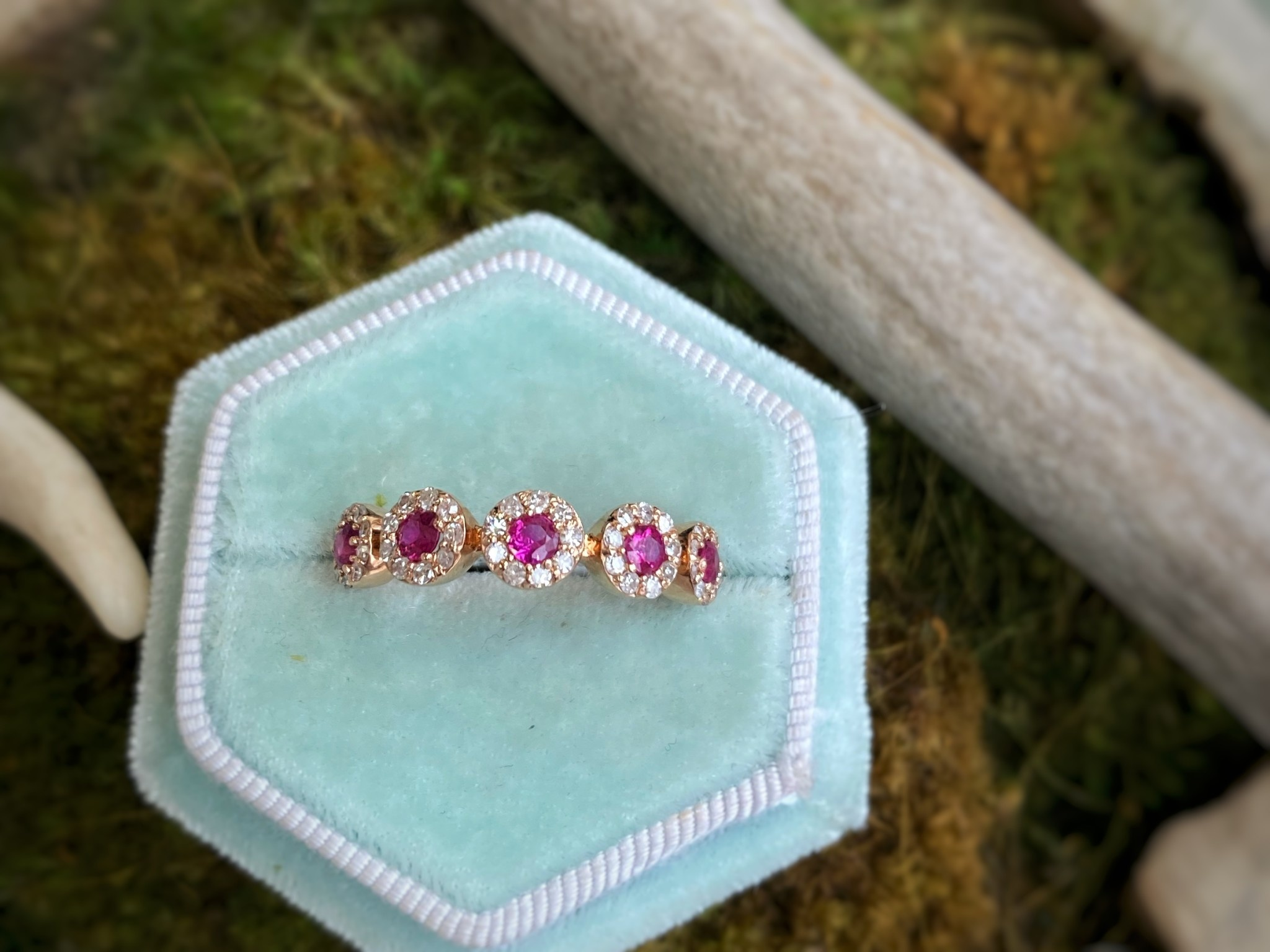 14K Rose Gold Ruby and Diamond Ring