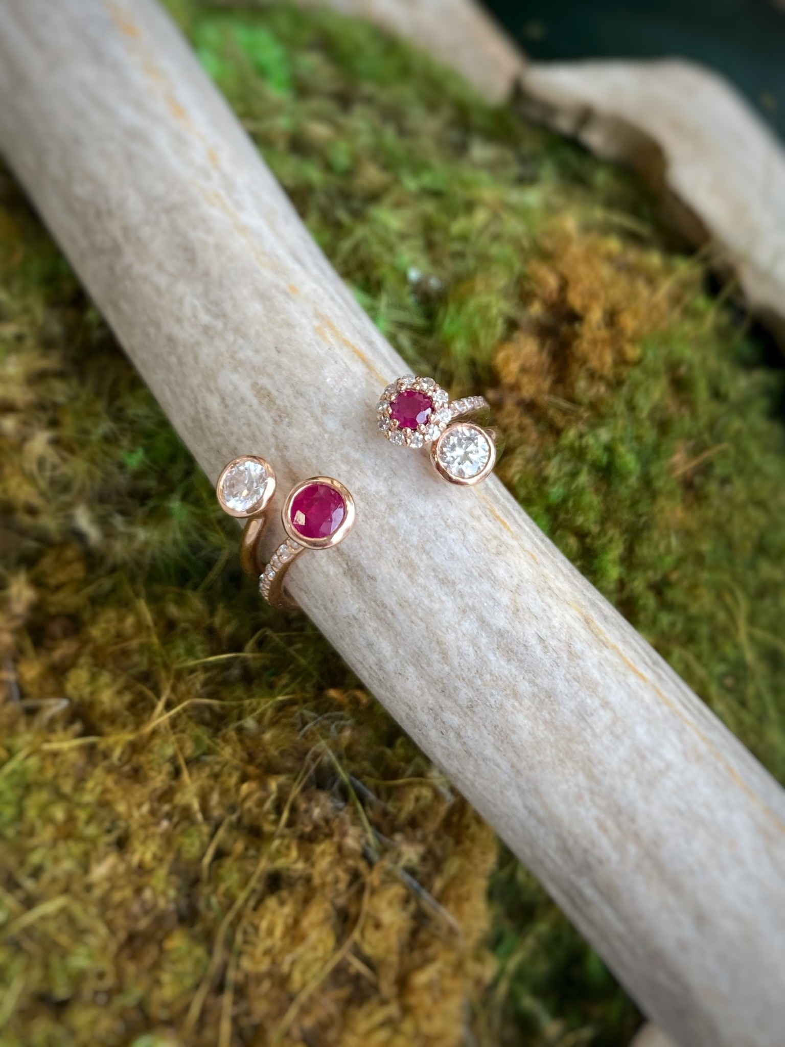 14K Rose Gold Open Ruby and Diamond Ring