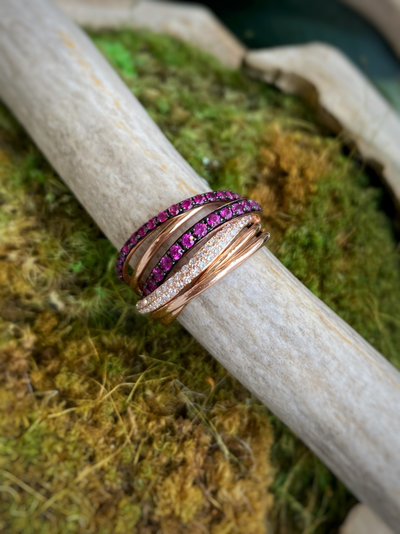 14K Rose Gold Ruby and Diamond Twist Ring