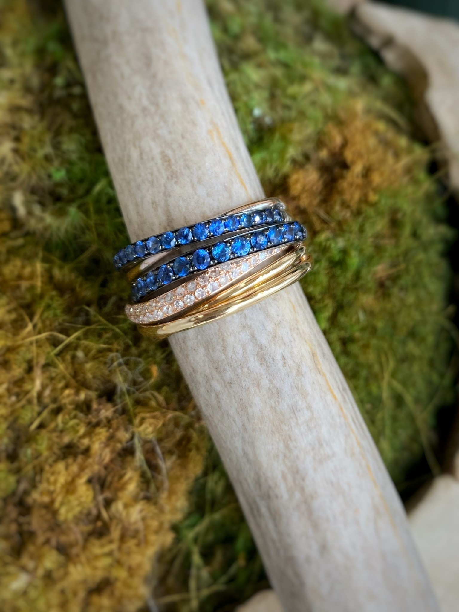 14K White Gold Sapphire and Diamond Effy Ring