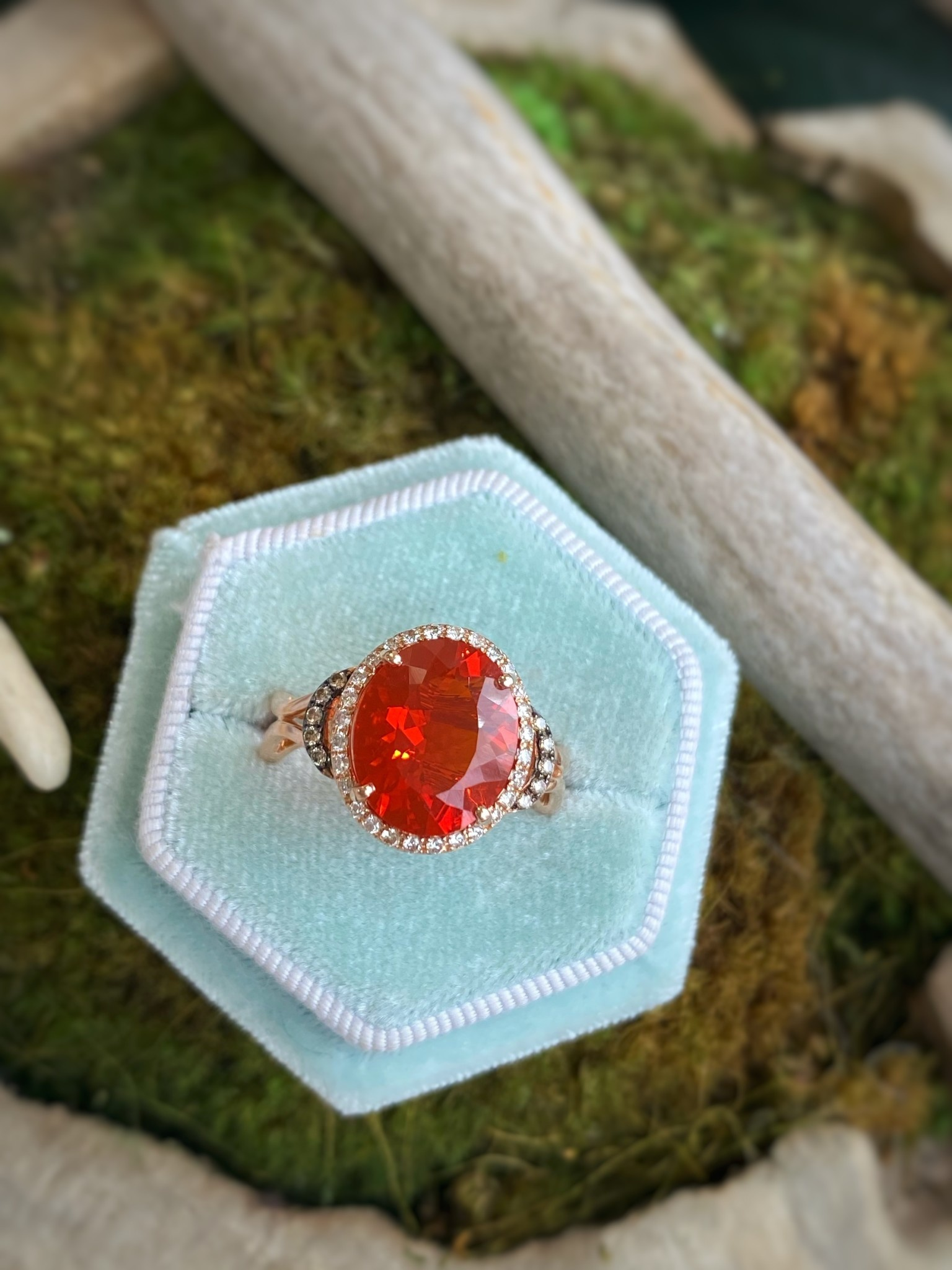 14K Rose Gold Fire Opal and Diamond Ring