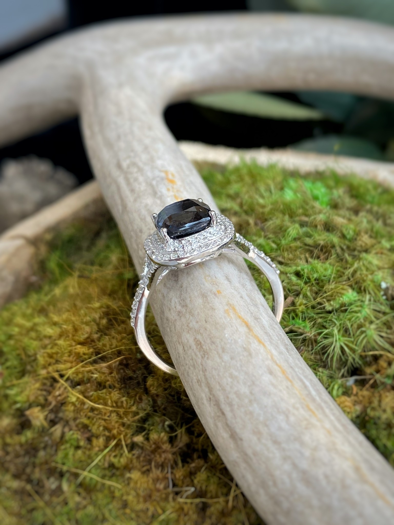 14K White Gold Gray Spinel and Diamond Ring